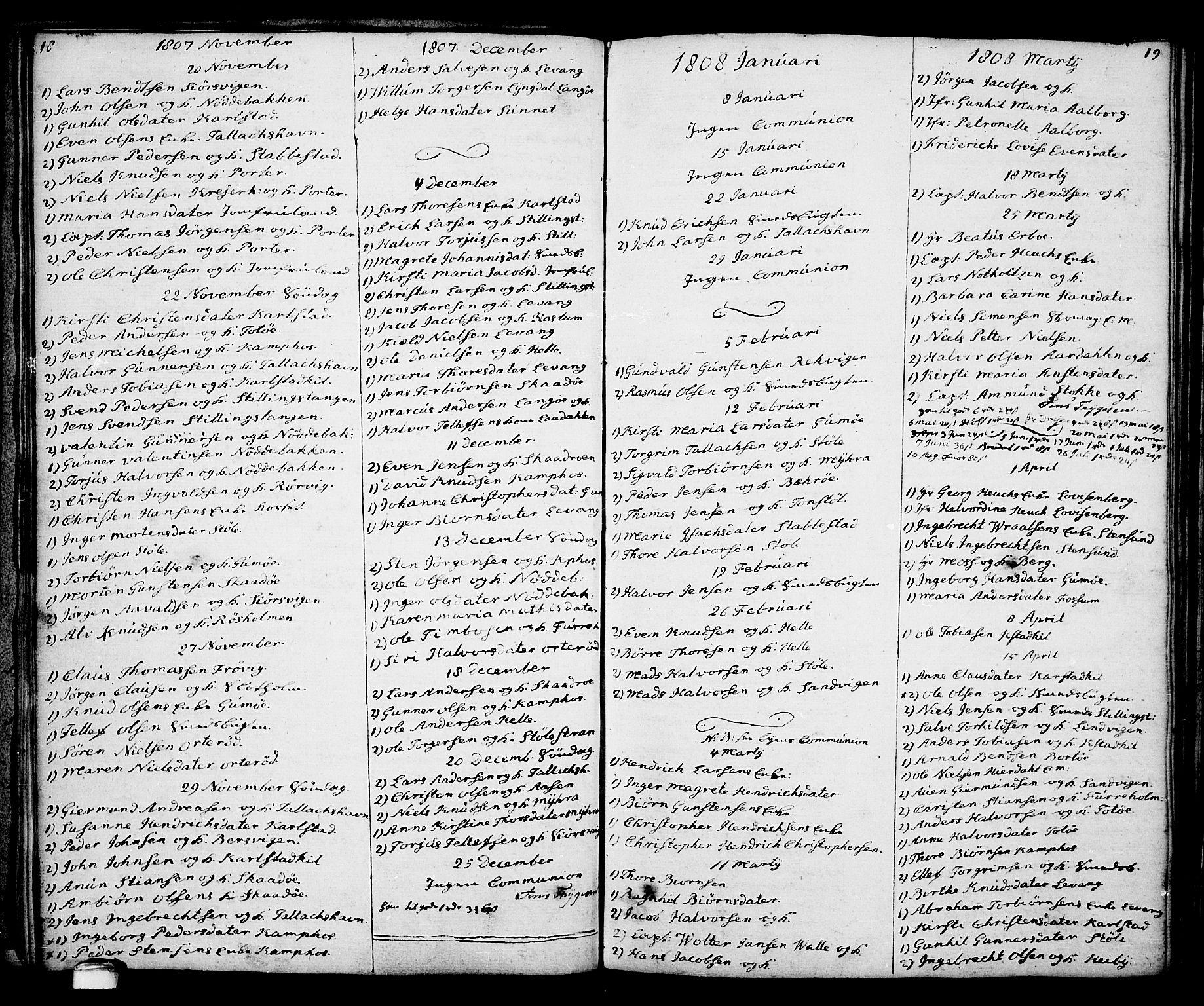SAKO, Kragerø kirkebøker, G/Ga/L0001: Klokkerbok nr. 1 /2, 1806-1811, s. 18-19