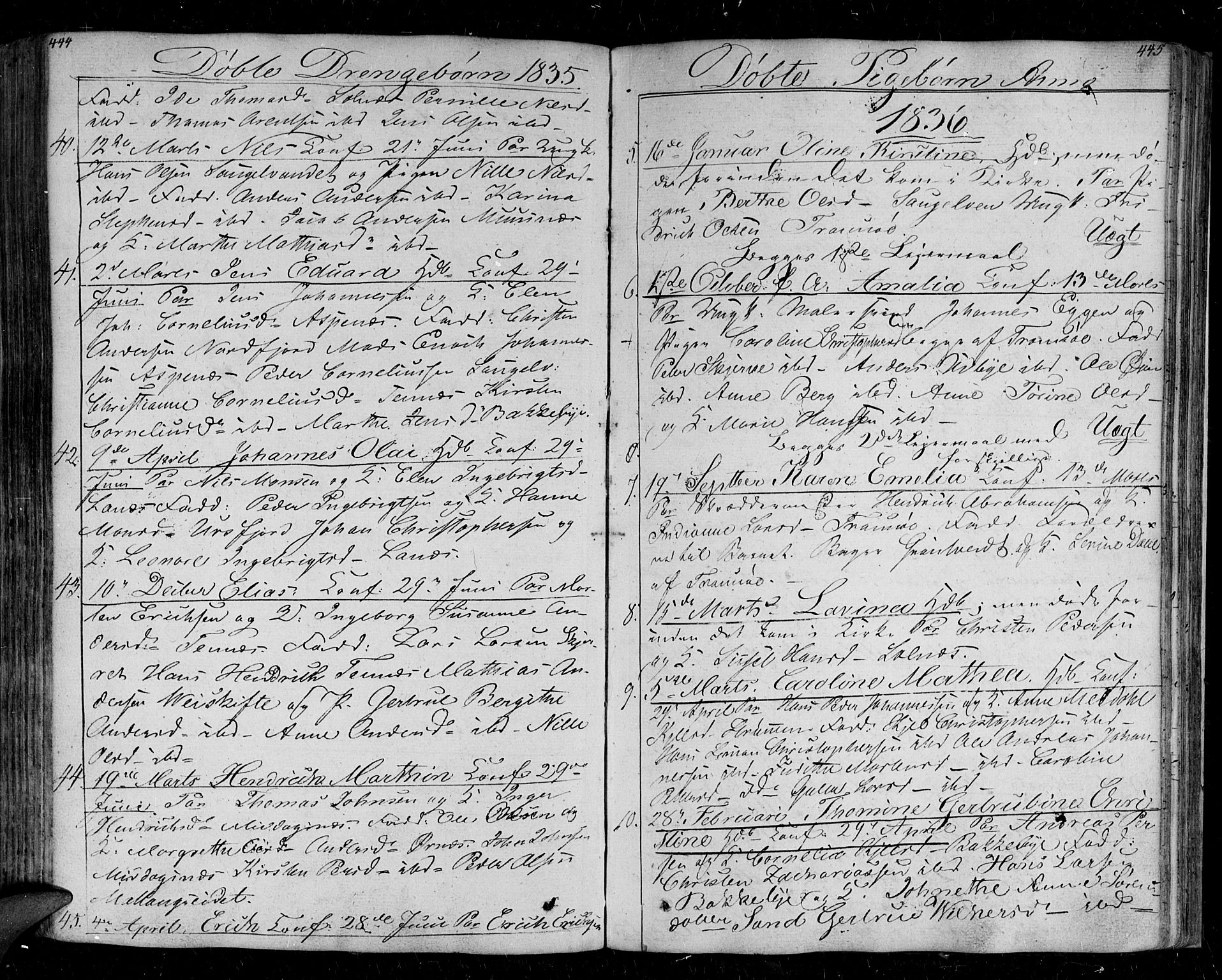 SATØ, Tromsø sokneprestkontor/stiftsprosti/domprosti, G/Ga/L0008kirke: Ministerialbok nr. 8, 1829-1837, s. 444-445