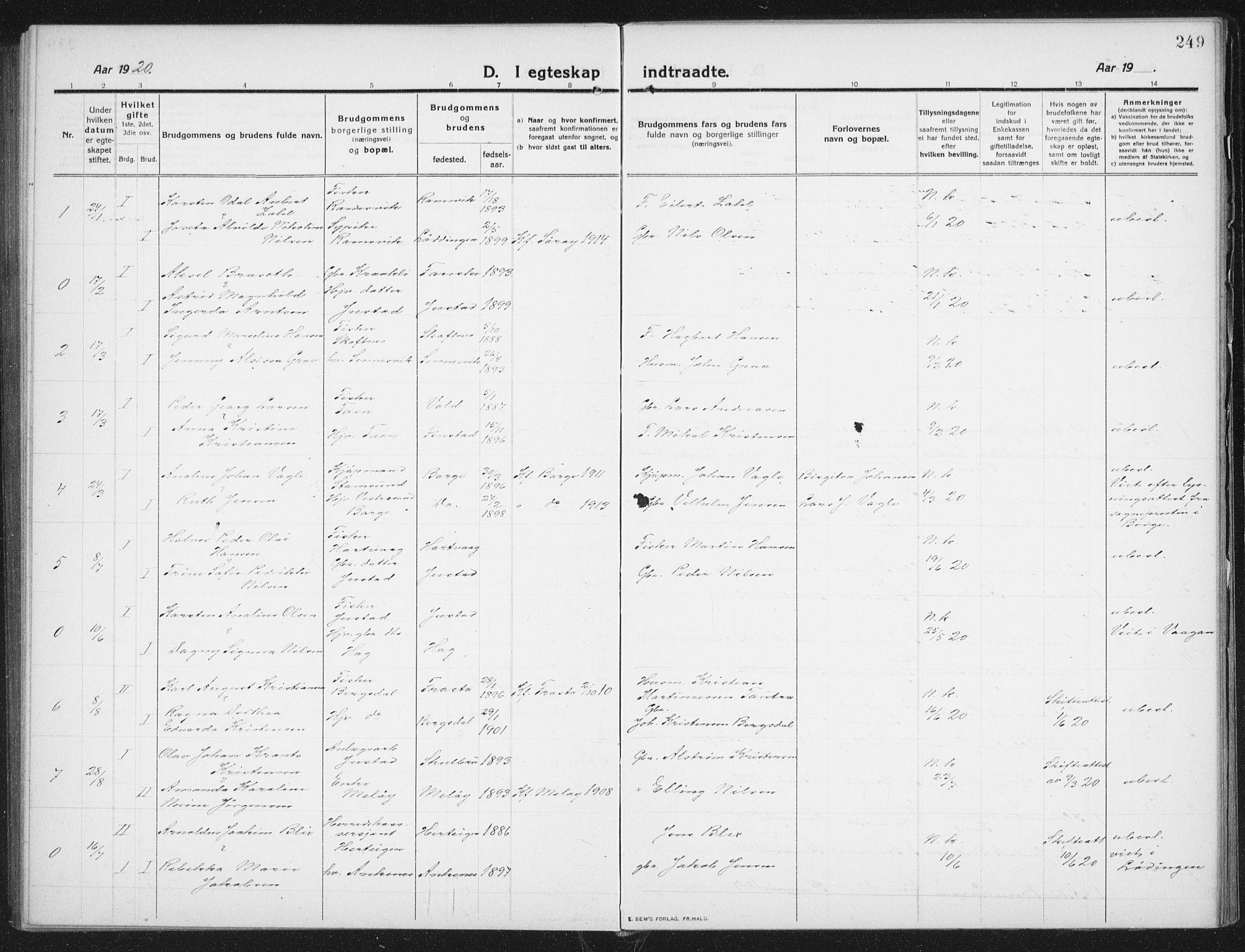 SAT, Ministerialprotokoller, klokkerbøker og fødselsregistre - Nordland, 882/L1183: Klokkerbok nr. 882C01, 1911-1938, s. 249