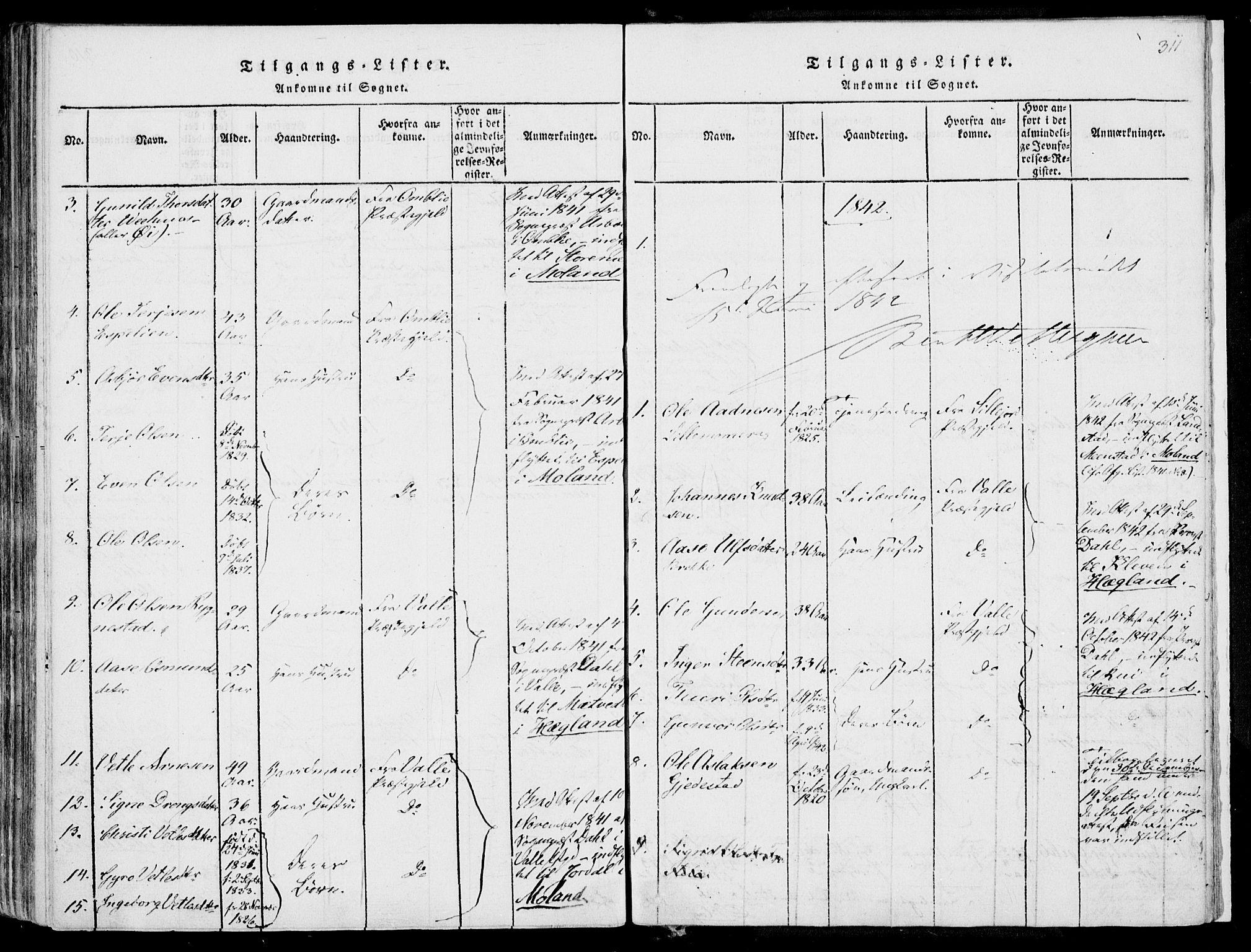 SAKO, Fyresdal kirkebøker, F/Fa/L0004: Ministerialbok nr. I 4, 1815-1854, s. 311