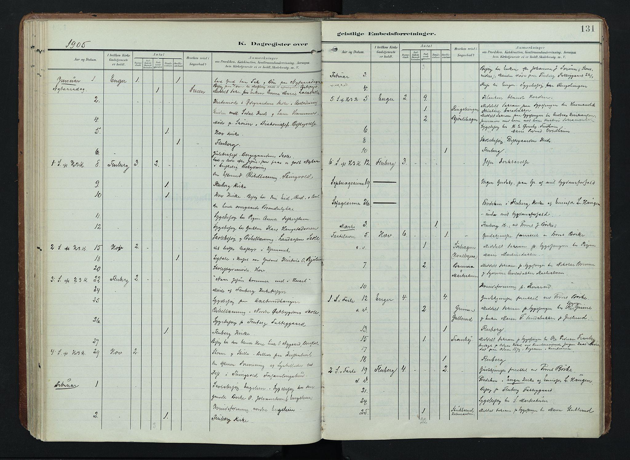 SAH, Søndre Land prestekontor, K/L0005: Ministerialbok nr. 5, 1905-1914, s. 131