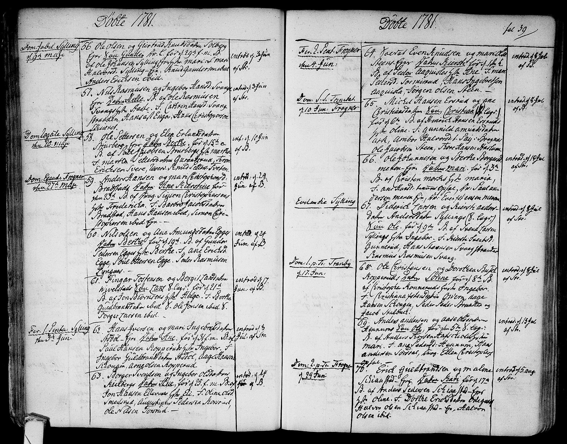 SAKO, Lier kirkebøker, F/Fa/L0006: Ministerialbok nr. I 6, 1777-1794, s. 39