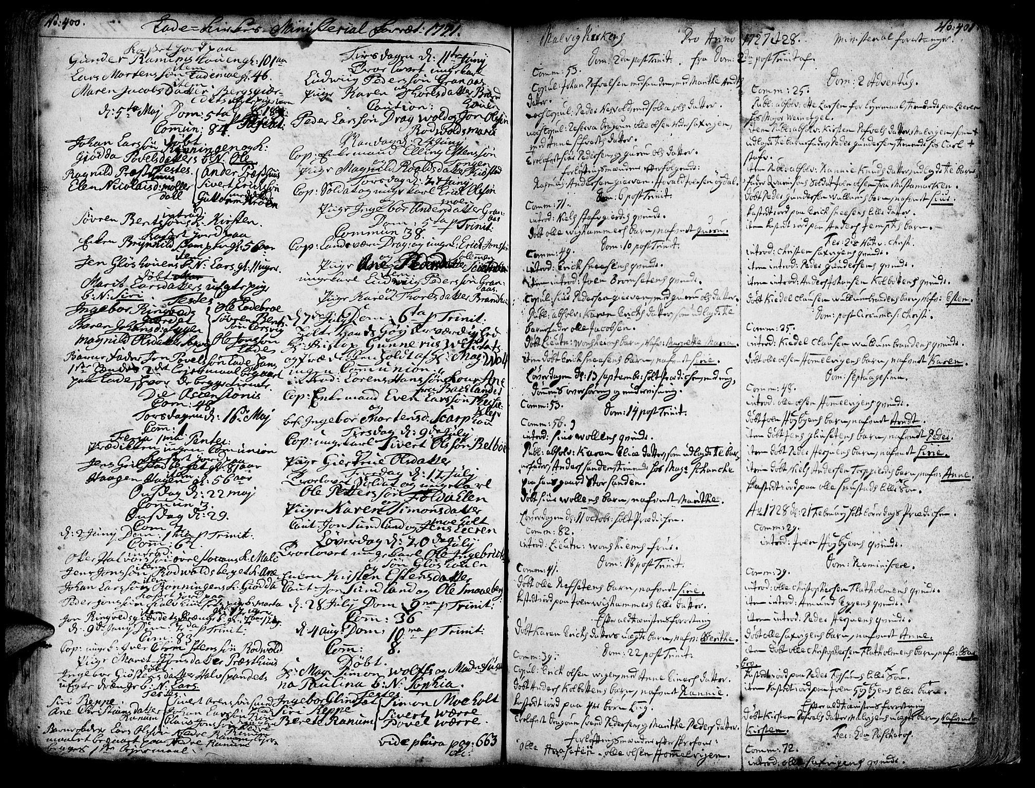 SAT, Ministerialprotokoller, klokkerbøker og fødselsregistre - Sør-Trøndelag, 606/L0275: Ministerialbok nr. 606A01 /1, 1727-1780, s. 400-401