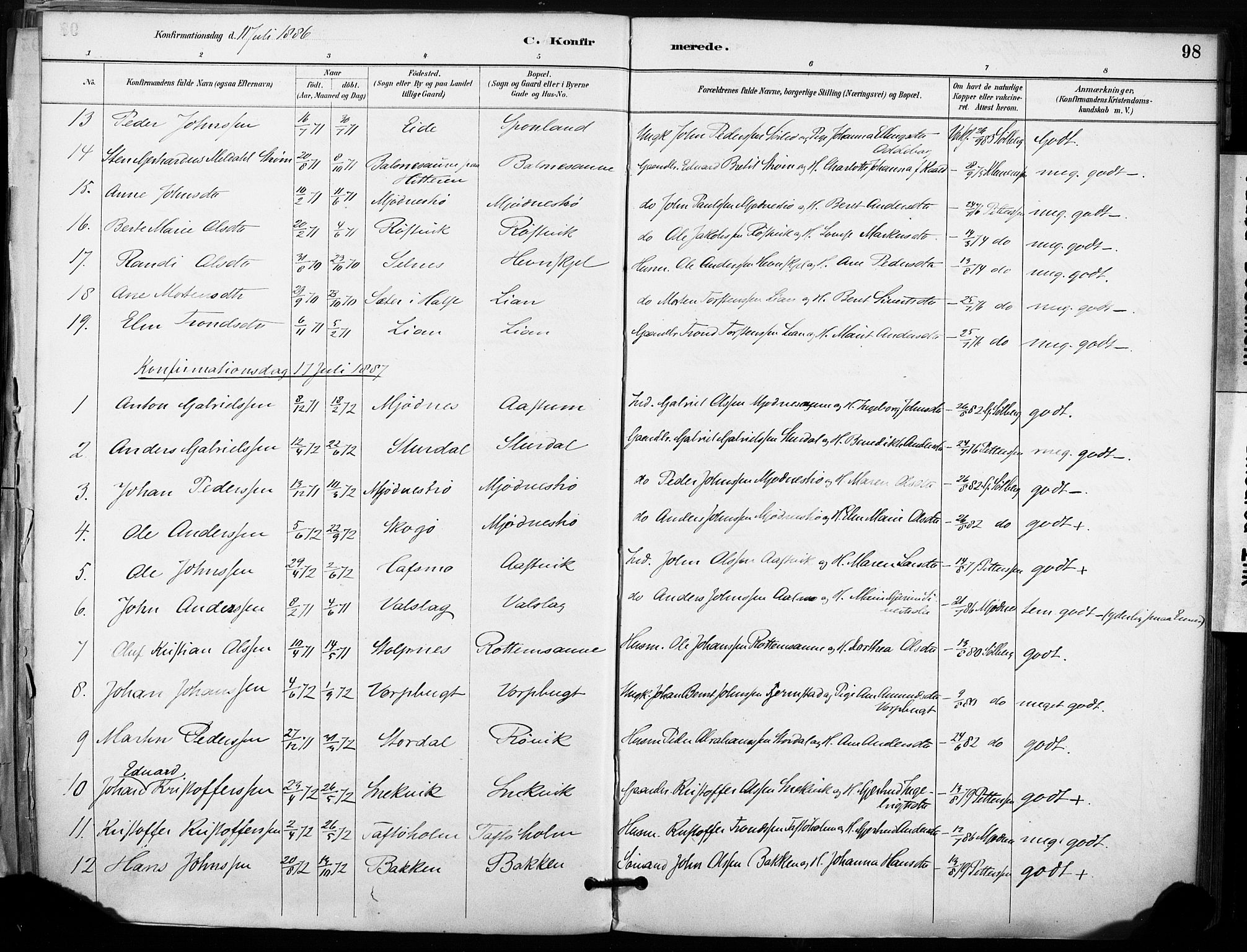 SAT, Ministerialprotokoller, klokkerbøker og fødselsregistre - Sør-Trøndelag, 633/L0518: Ministerialbok nr. 633A01, 1884-1906, s. 98