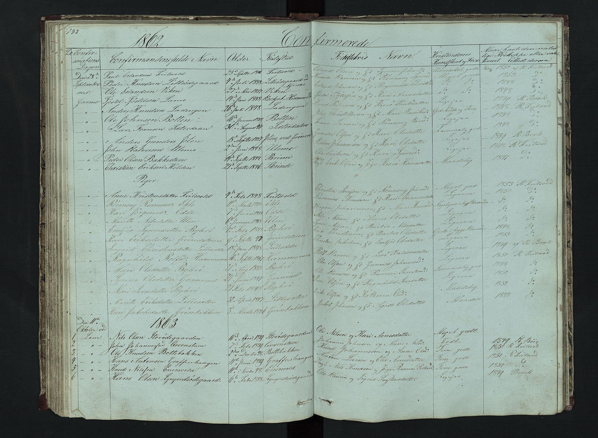 SAH, Lom prestekontor, L/L0014: Klokkerbok nr. 14, 1845-1876, s. 132-133