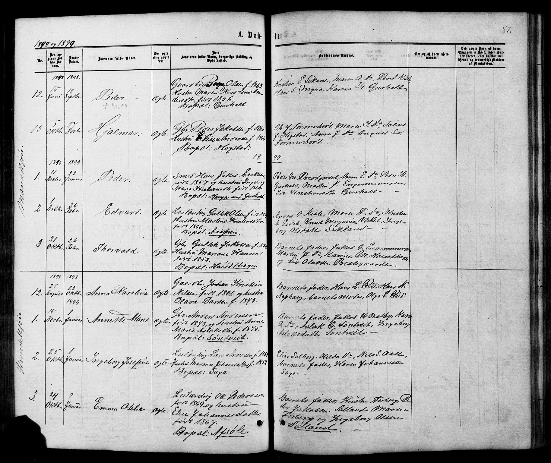 SAKO, Siljan kirkebøker, G/Ga/L0002: Klokkerbok nr. 2, 1864-1908, s. 87