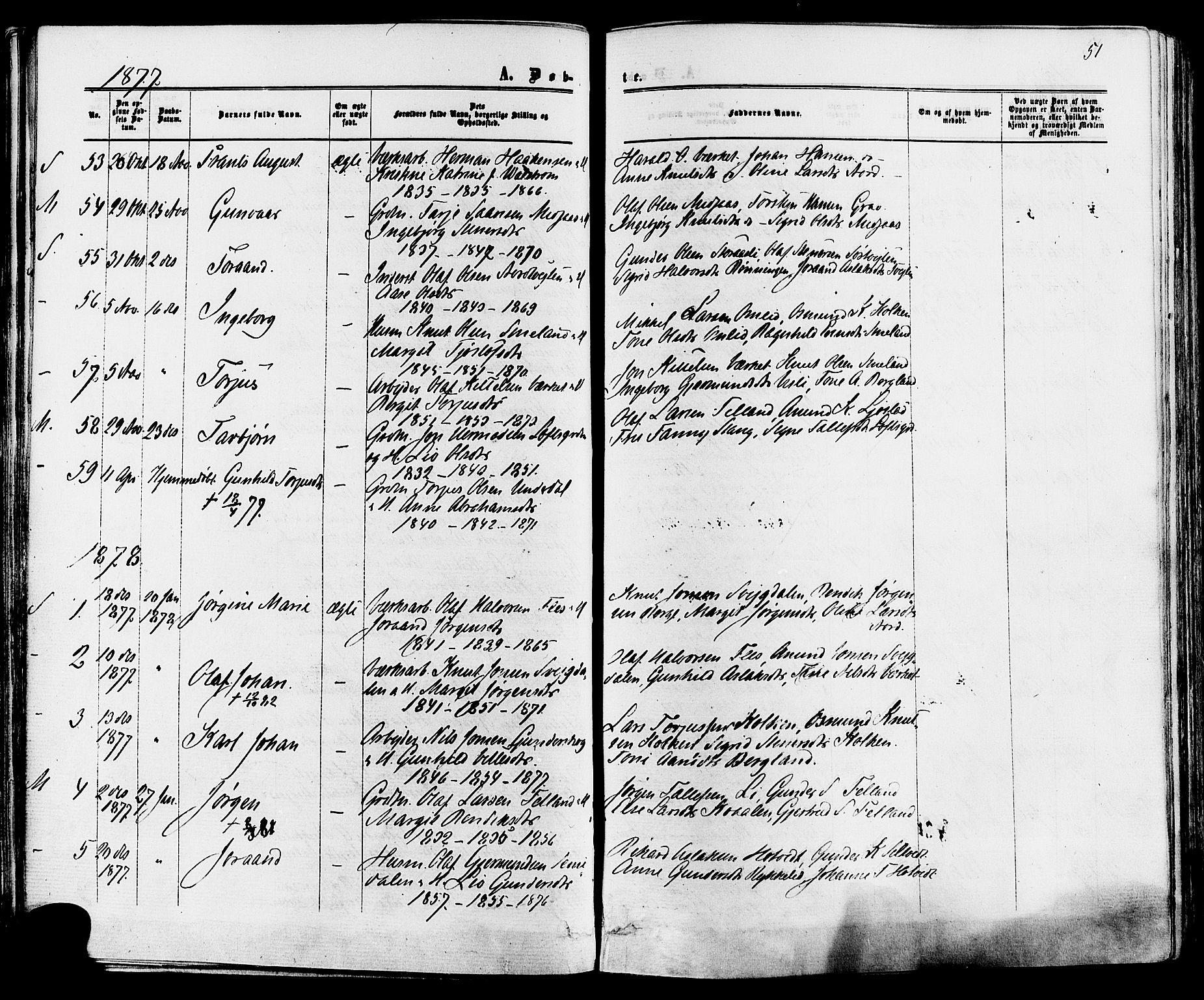 SAKO, Mo kirkebøker, F/Fa/L0006: Ministerialbok nr. I 6, 1865-1885, s. 51