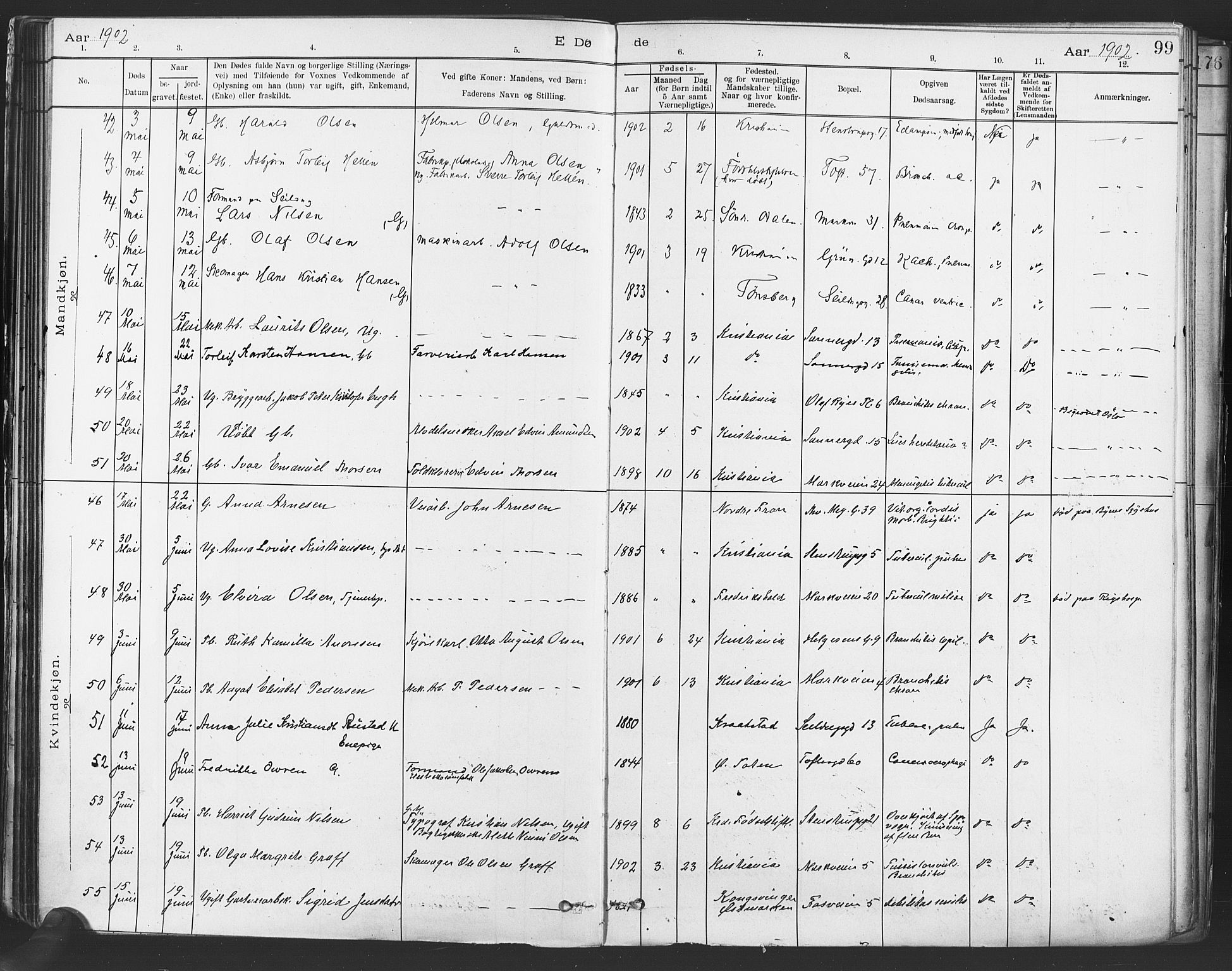 SAO, Paulus prestekontor Kirkebøker, F/Fa/L0012: Ministerialbok nr. 12, 1897-1908, s. 99