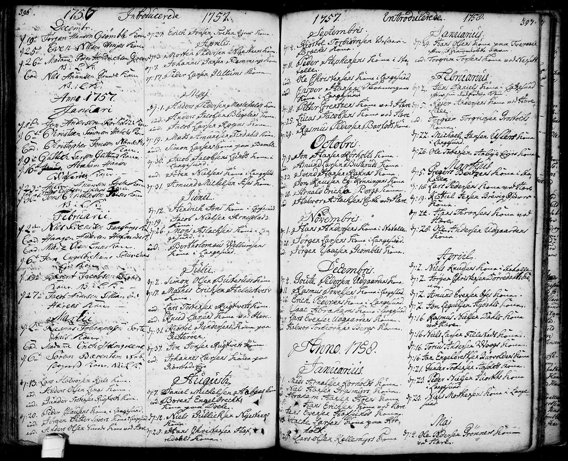 SAKO, Bamble kirkebøker, F/Fa/L0001: Ministerialbok nr. I 1, 1702-1774, s. 396-397
