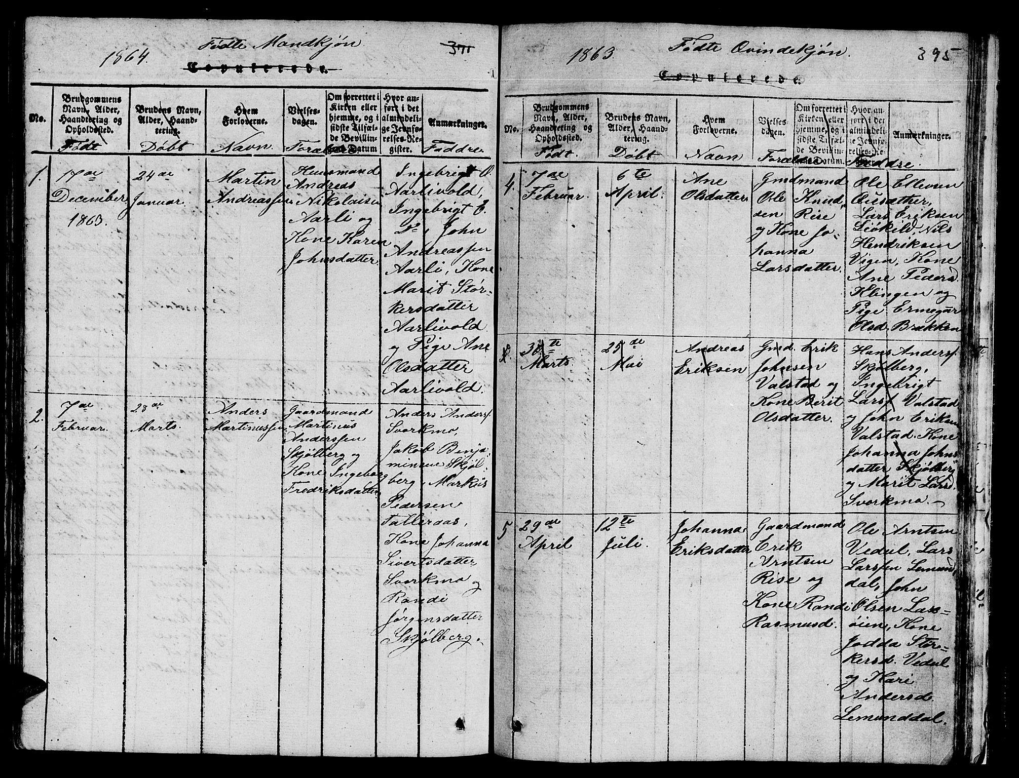 SAT, Ministerialprotokoller, klokkerbøker og fødselsregistre - Sør-Trøndelag, 671/L0842: Klokkerbok nr. 671C01, 1816-1867, s. 394-395