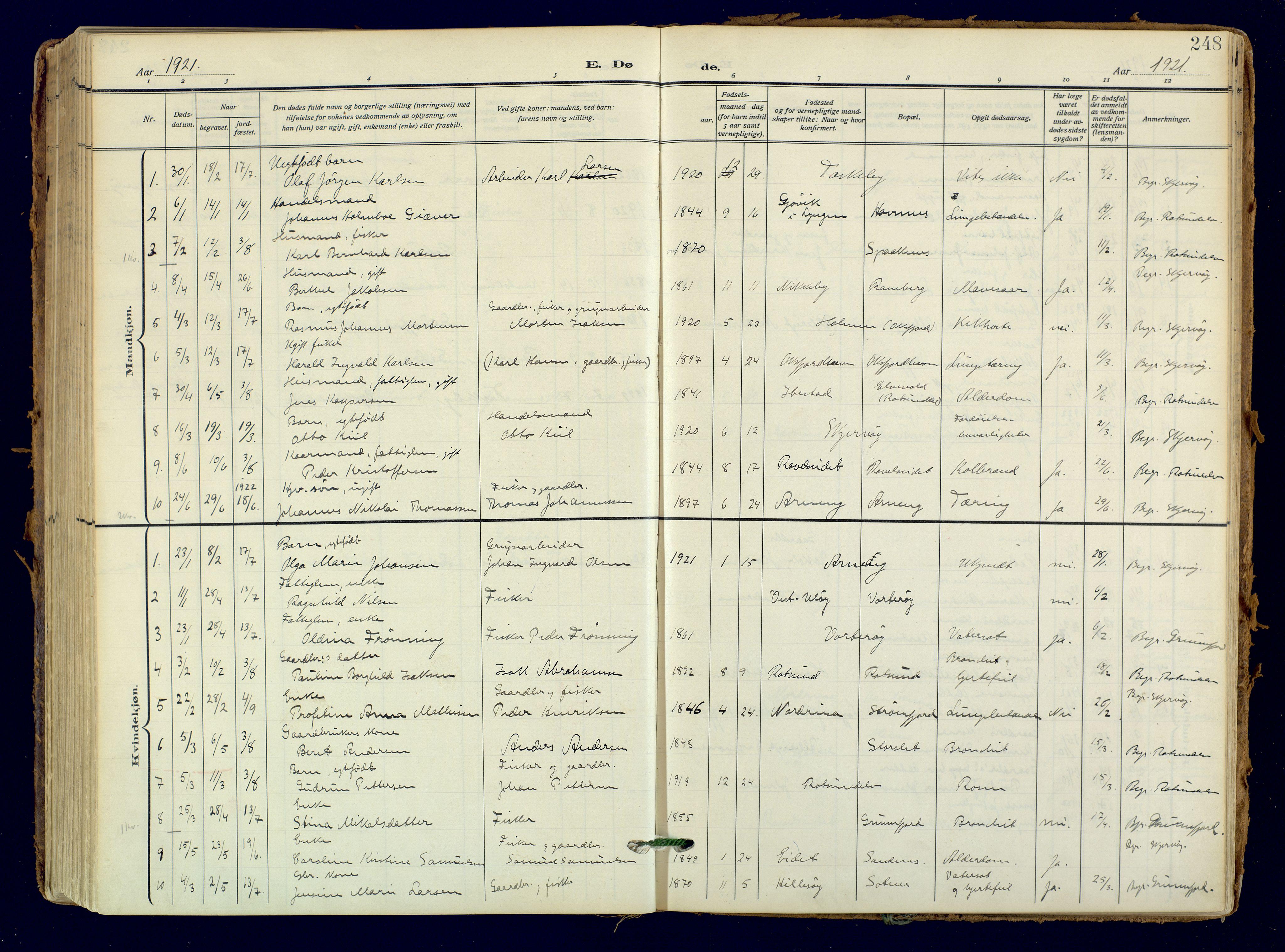 SATØ, Skjervøy sokneprestkontor, H/Ha/Haa: Ministerialbok nr. 18, 1910-1926, s. 248