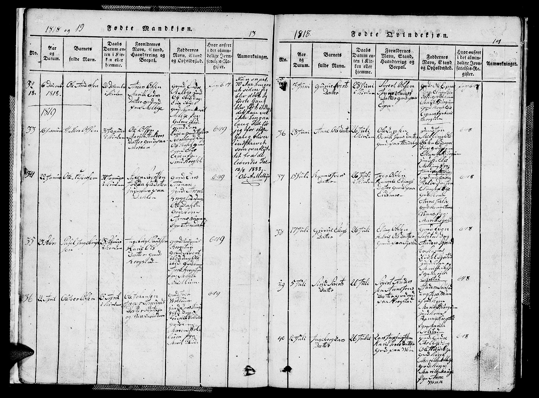 SAT, Ministerialprotokoller, klokkerbøker og fødselsregistre - Sør-Trøndelag, 667/L0796: Klokkerbok nr. 667C01, 1817-1836, s. 13-14