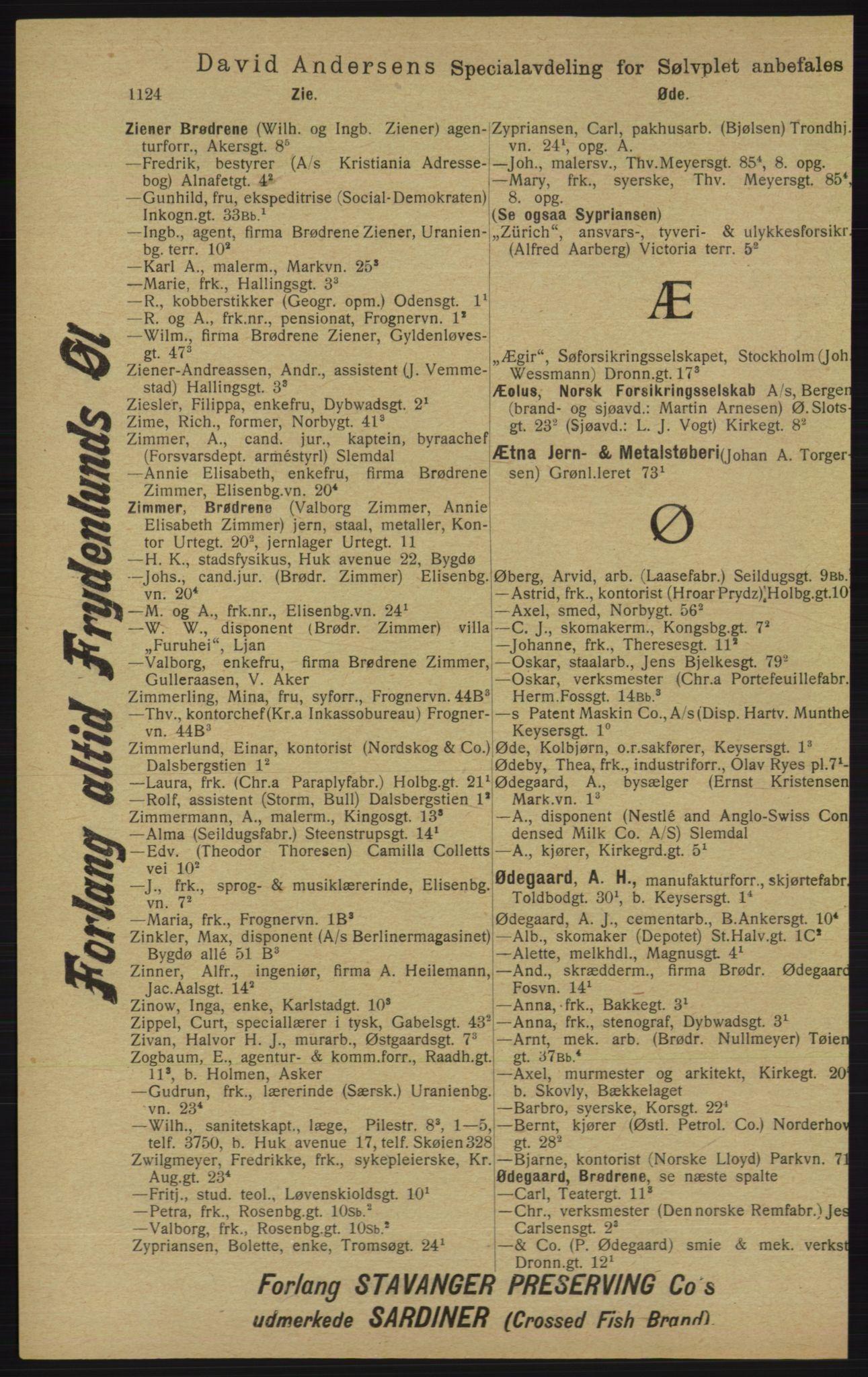 RA, Kristiania adressebok (publikasjon)*, 1913, s. 1124