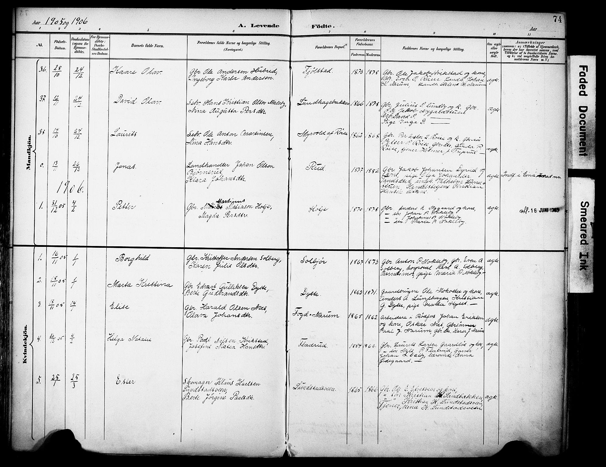 SAH, Vestre Toten prestekontor, H/Ha/Haa/L0013: Ministerialbok nr. 13, 1895-1911, s. 74
