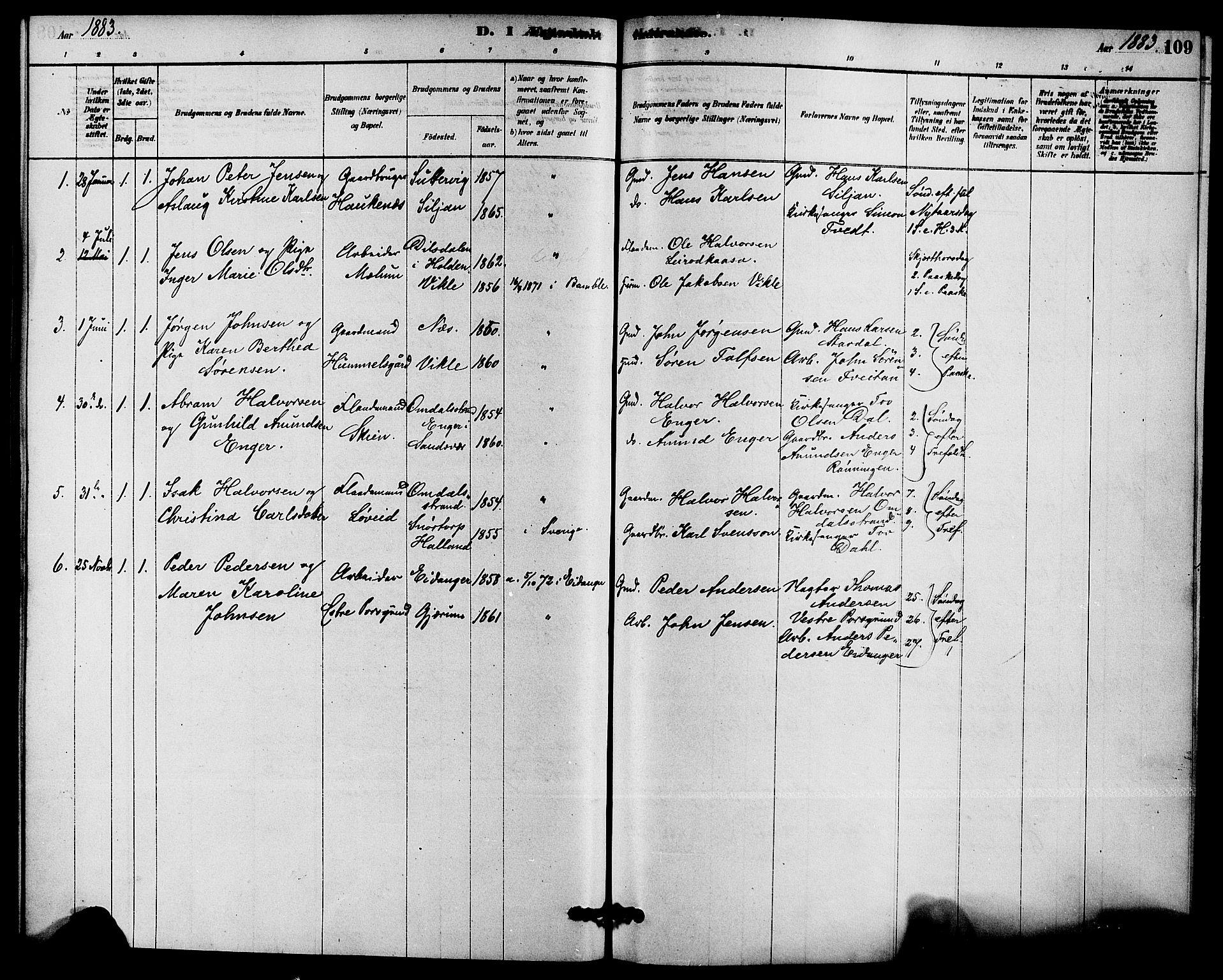 SAKO, Solum kirkebøker, F/Fb/L0001: Ministerialbok nr. II 1, 1877-1892, s. 109