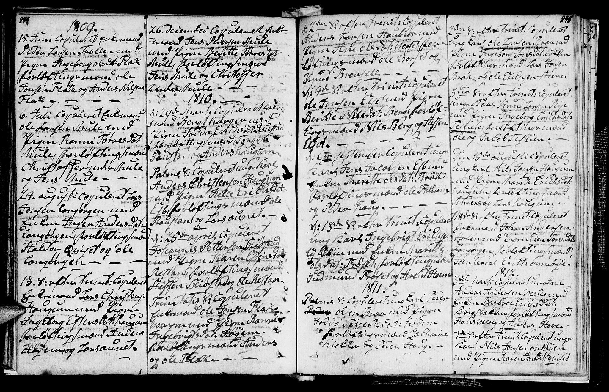 SAT, Ministerialprotokoller, klokkerbøker og fødselsregistre - Sør-Trøndelag, 612/L0371: Ministerialbok nr. 612A05, 1803-1816, s. 244-245