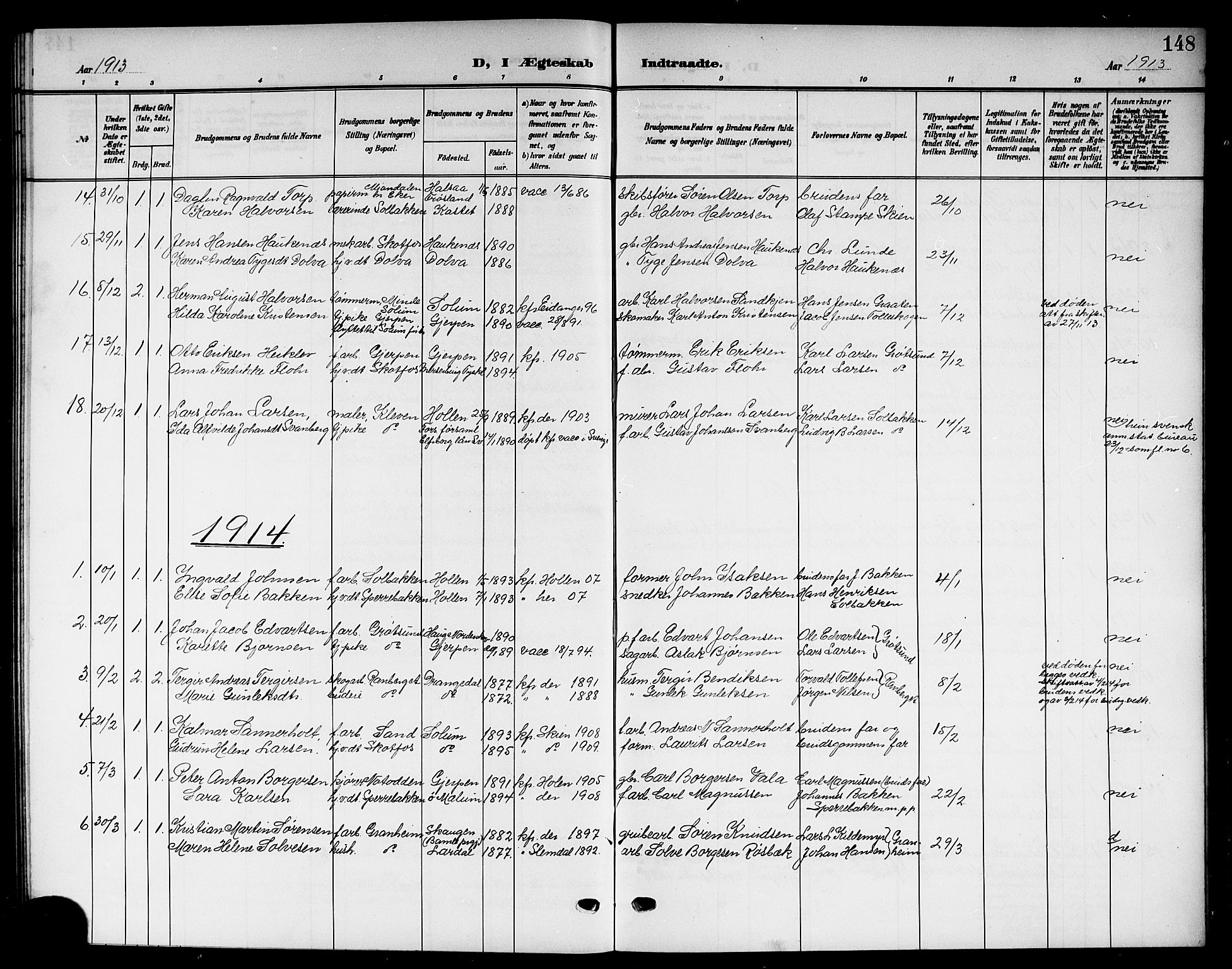 SAKO, Solum kirkebøker, G/Gb/L0005: Klokkerbok nr. II 5, 1905-1914, s. 148