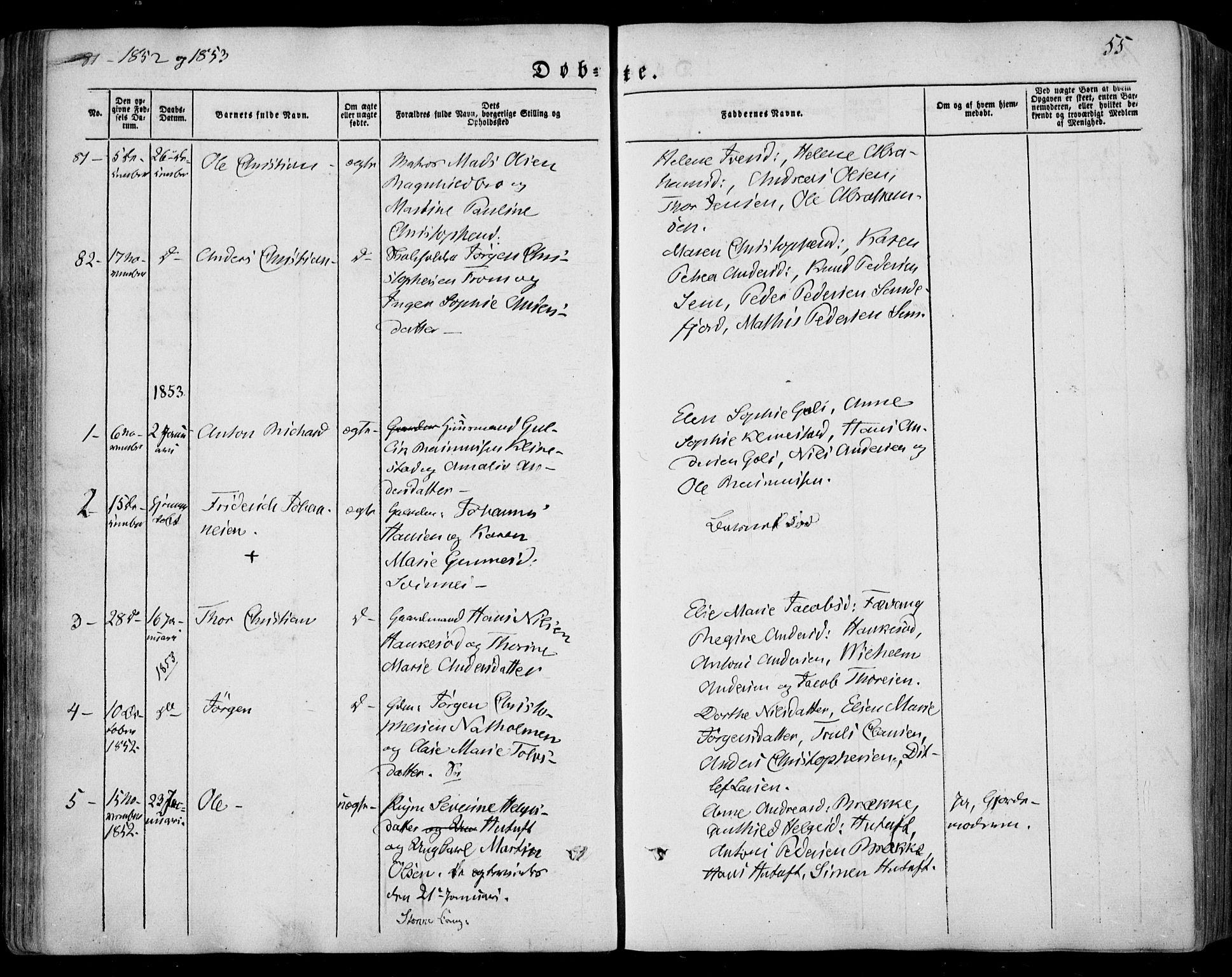 SAKO, Sandar kirkebøker, F/Fa/L0006: Ministerialbok nr. 6, 1847-1860, s. 55