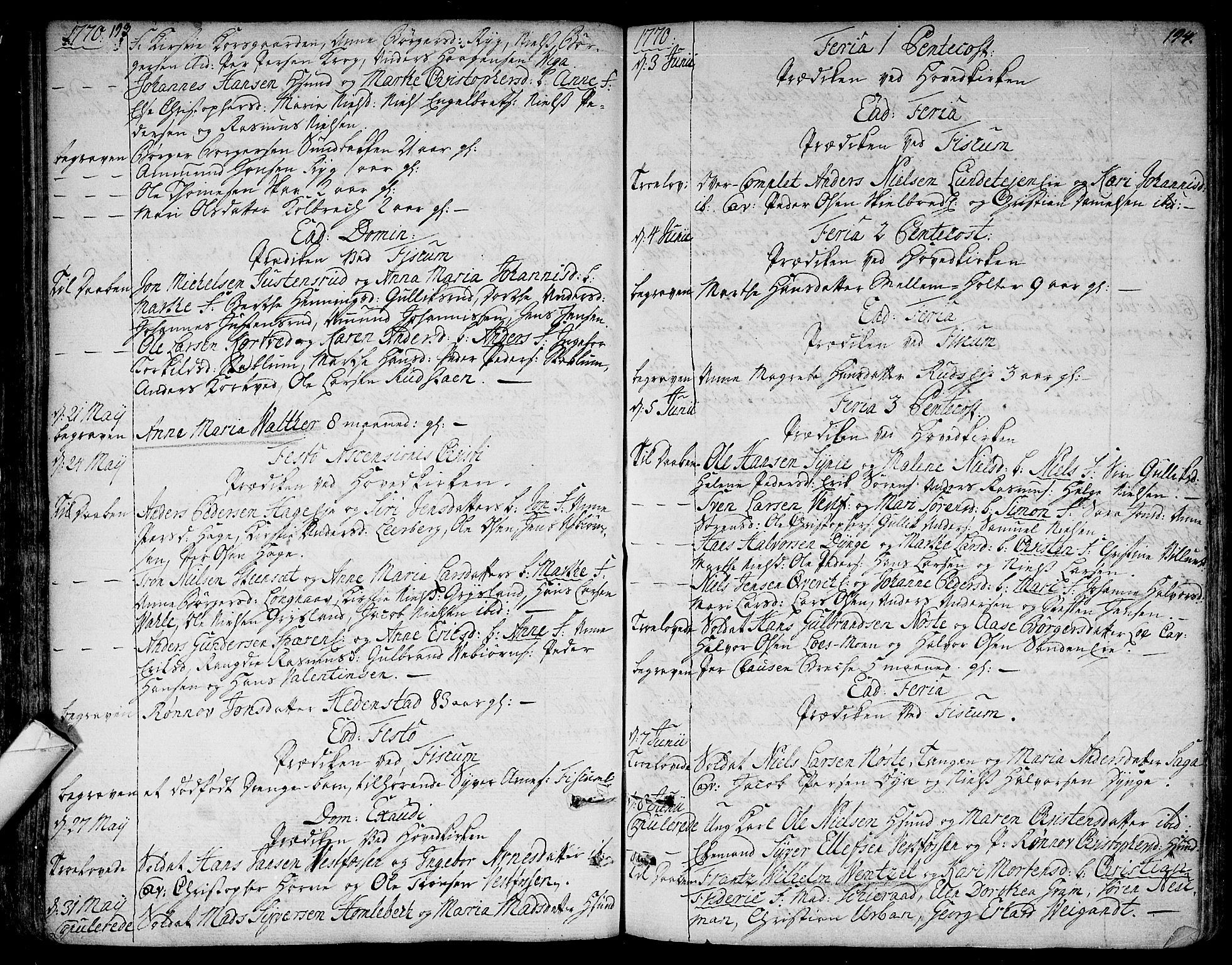 SAKO, Eiker kirkebøker, F/Fa/L0008: Ministerialbok nr. I 8, 1764-1788, s. 193-194