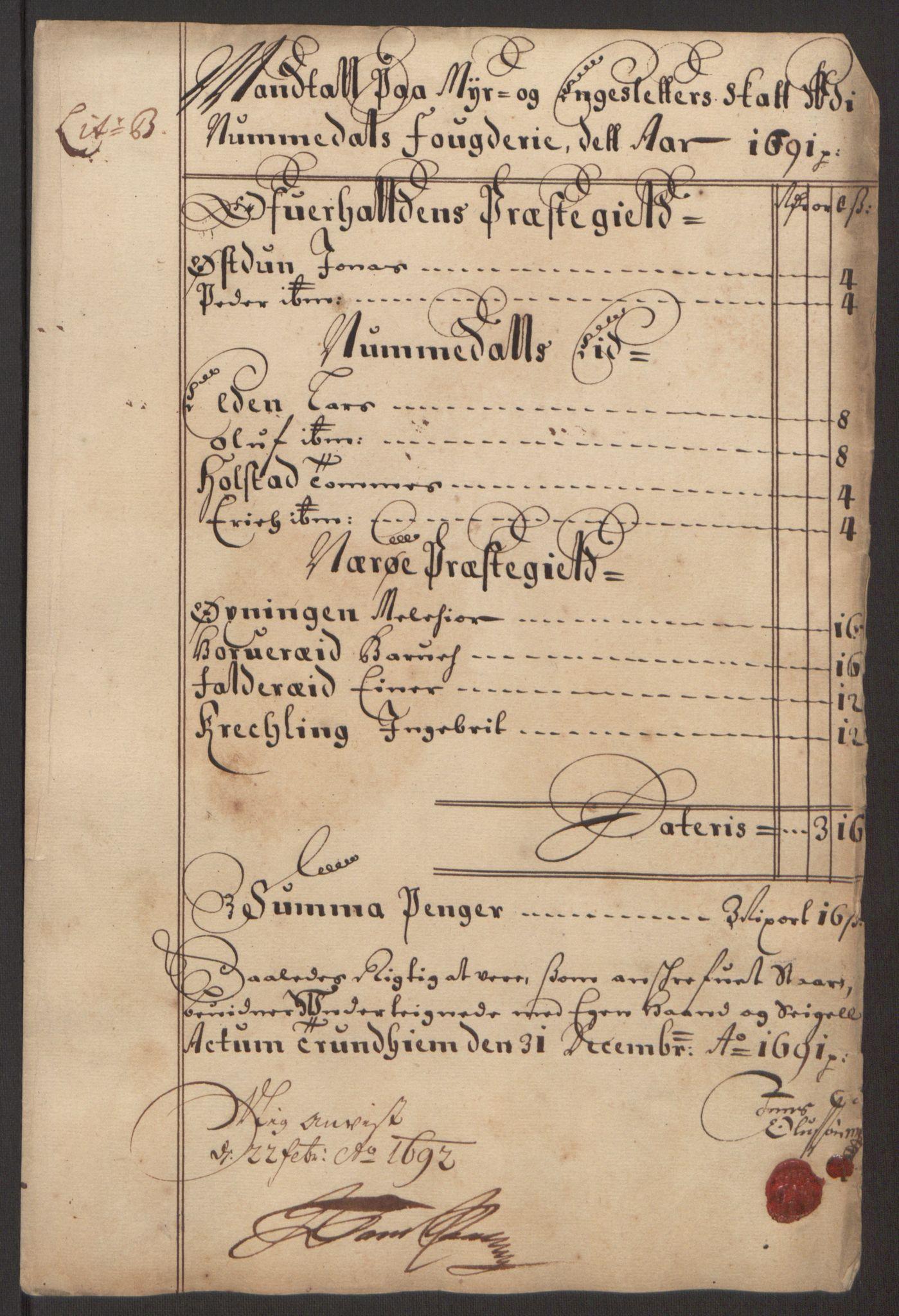 RA, Rentekammeret inntil 1814, Reviderte regnskaper, Fogderegnskap, R64/L4423: Fogderegnskap Namdal, 1690-1691, s. 208