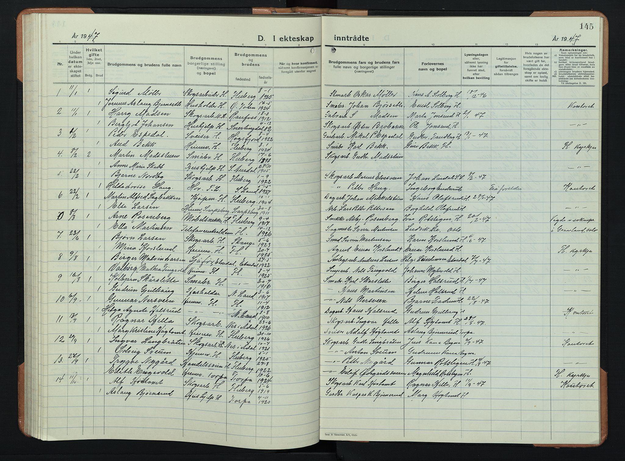 SAH, Søndre Land prestekontor, L/L0008: Klokkerbok nr. 8, 1926-1950, s. 145