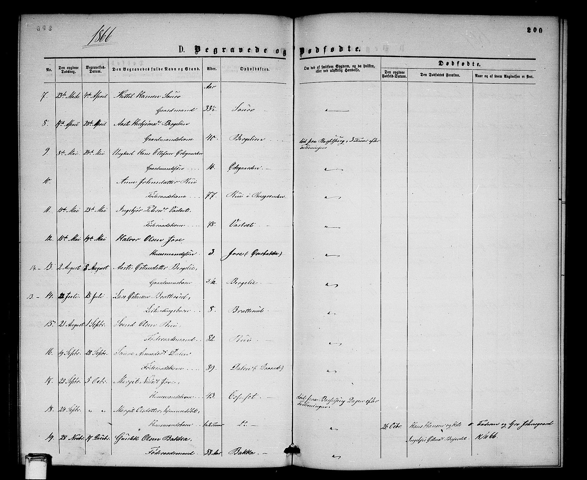 SAKO, Gransherad kirkebøker, G/Gb/L0002: Klokkerbok nr. II 2, 1860-1886, s. 200