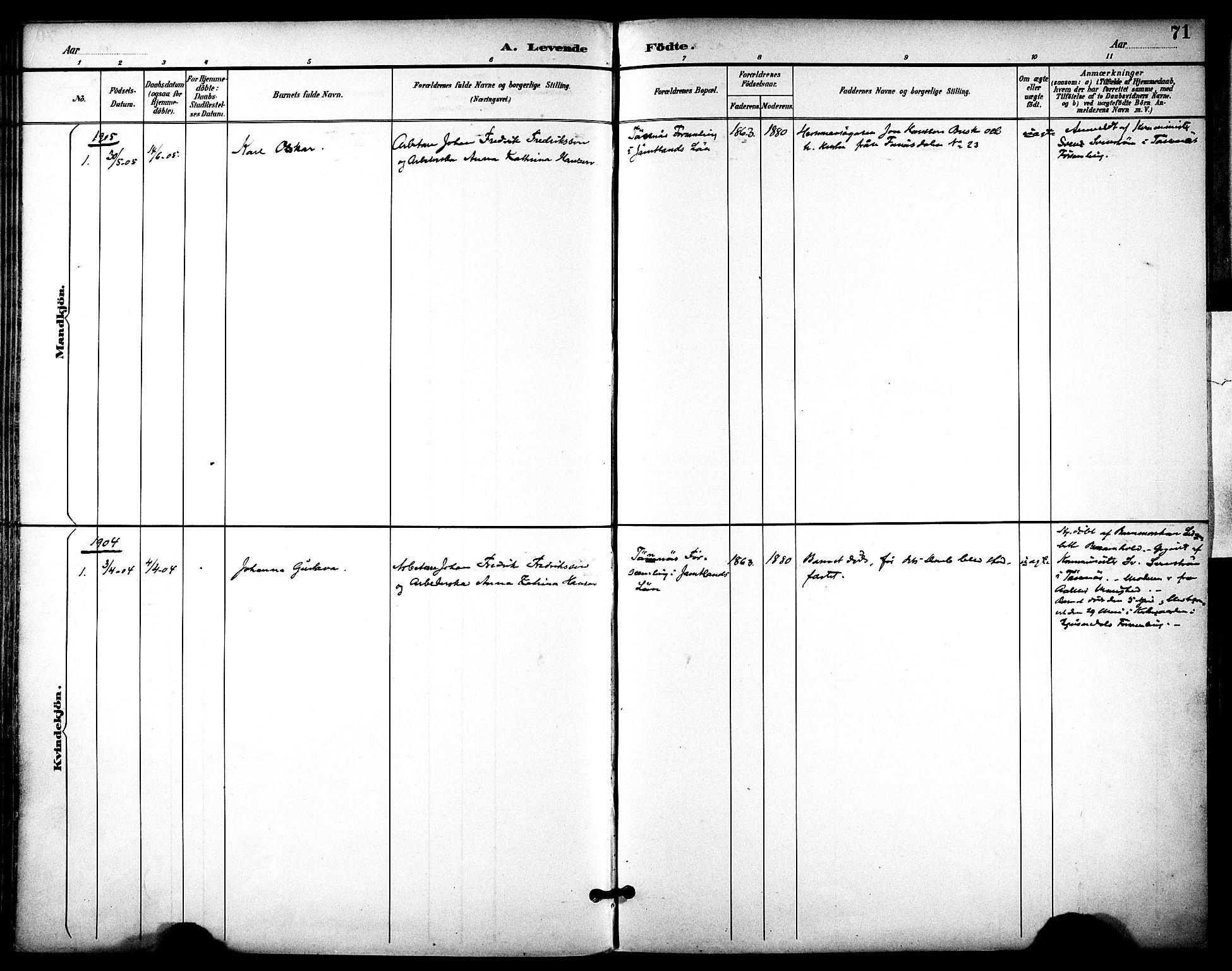 SAT, Ministerialprotokoller, klokkerbøker og fødselsregistre - Sør-Trøndelag, 686/L0984: Ministerialbok nr. 686A02, 1891-1906, s. 71