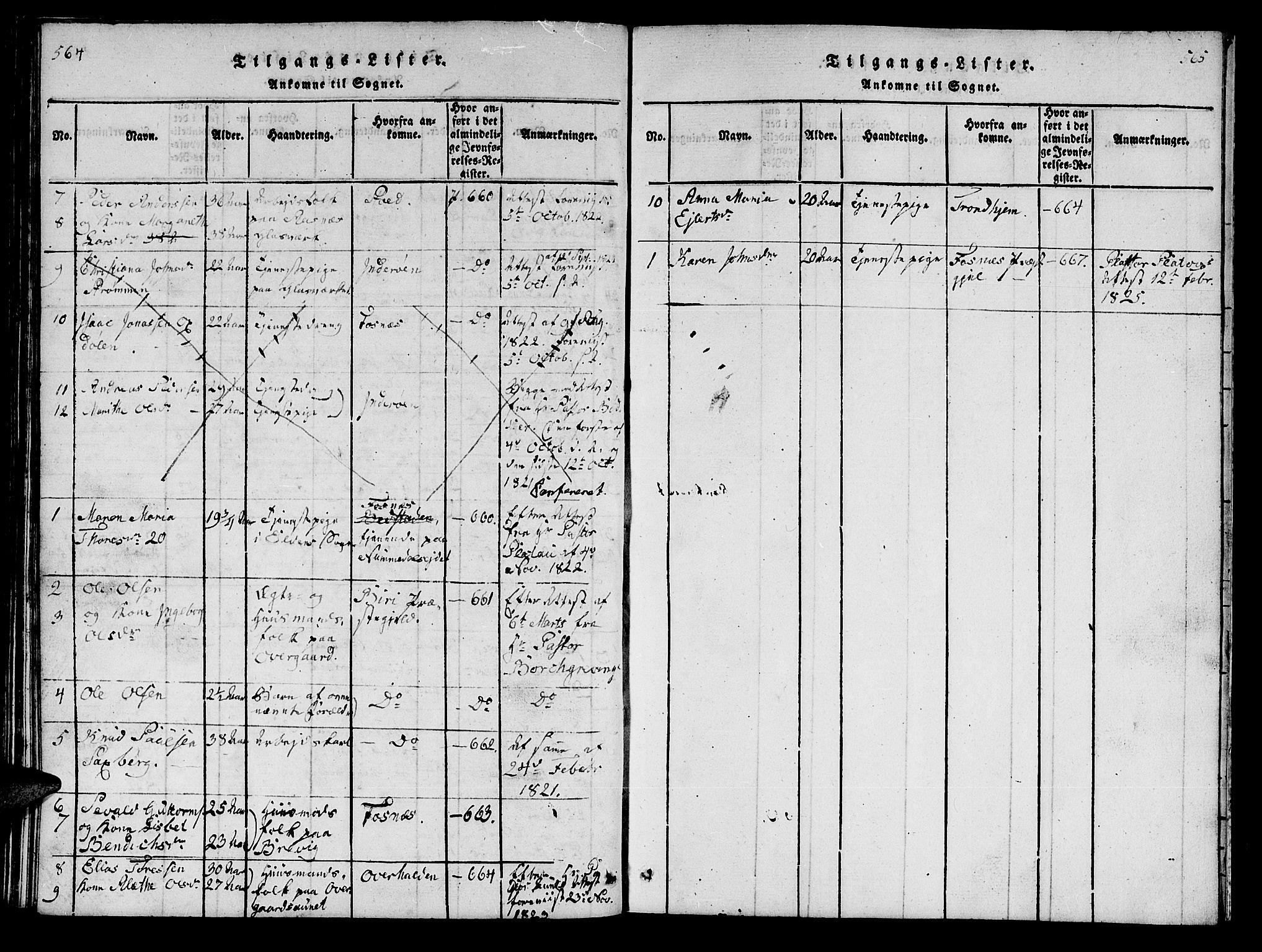 SAT, Ministerialprotokoller, klokkerbøker og fødselsregistre - Nord-Trøndelag, 742/L0411: Klokkerbok nr. 742C02, 1817-1825, s. 564-565