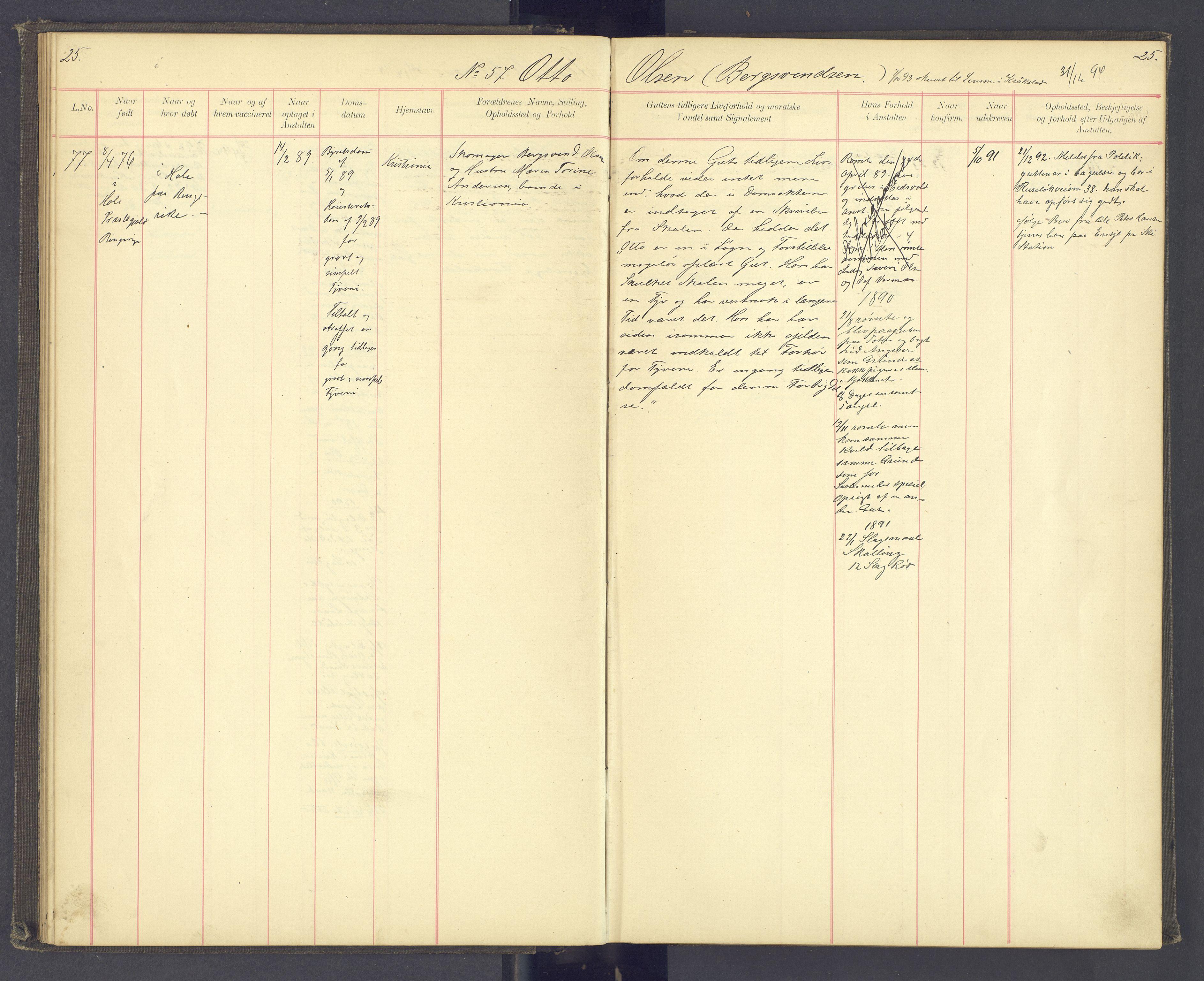 SAH, Toftes Gave, F/Fc/L0003: Elevprotokoll, 1886-1897, s. 25