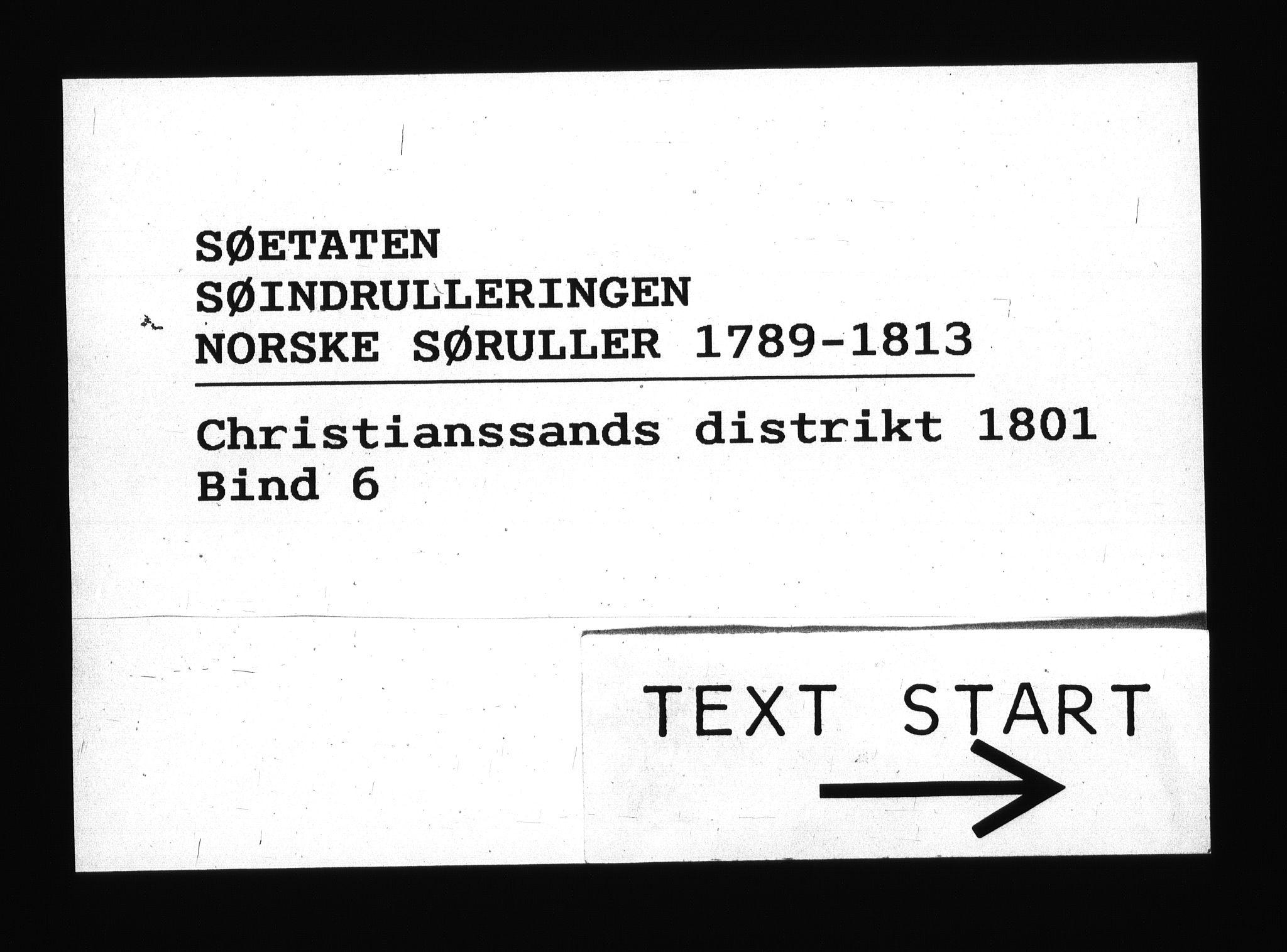 RA, Sjøetaten, F/L0047: Kristiansand distrikt, bind 6, 1801