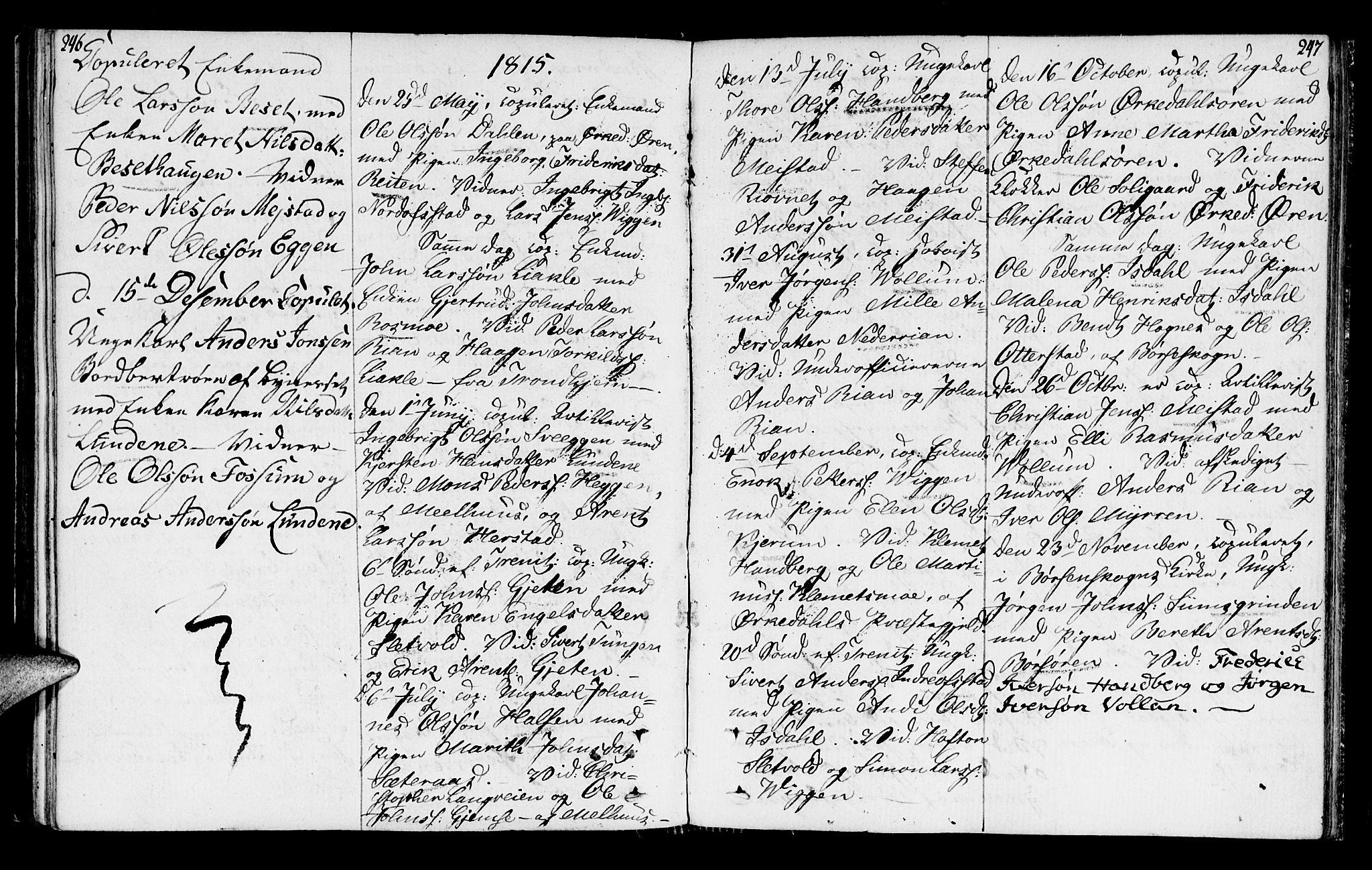 SAT, Ministerialprotokoller, klokkerbøker og fødselsregistre - Sør-Trøndelag, 665/L0769: Ministerialbok nr. 665A04, 1803-1816, s. 246-247