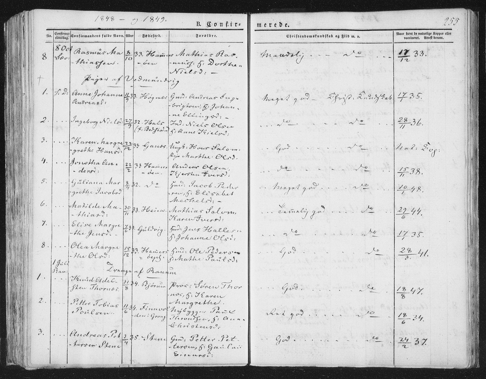SAT, Ministerialprotokoller, klokkerbøker og fødselsregistre - Nord-Trøndelag, 764/L0551: Ministerialbok nr. 764A07a, 1824-1864, s. 255