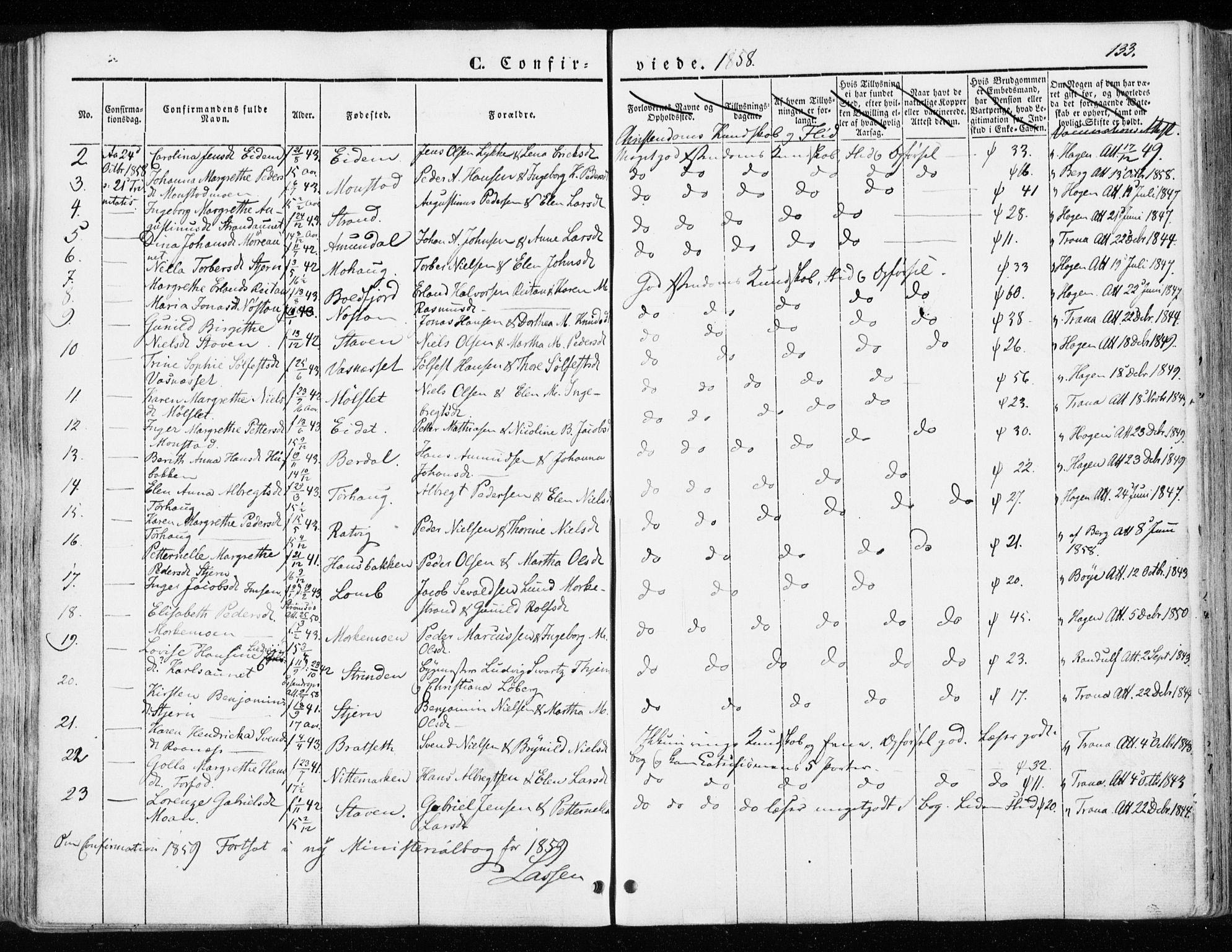 SAT, Ministerialprotokoller, klokkerbøker og fødselsregistre - Sør-Trøndelag, 655/L0677: Ministerialbok nr. 655A06, 1847-1860, s. 133