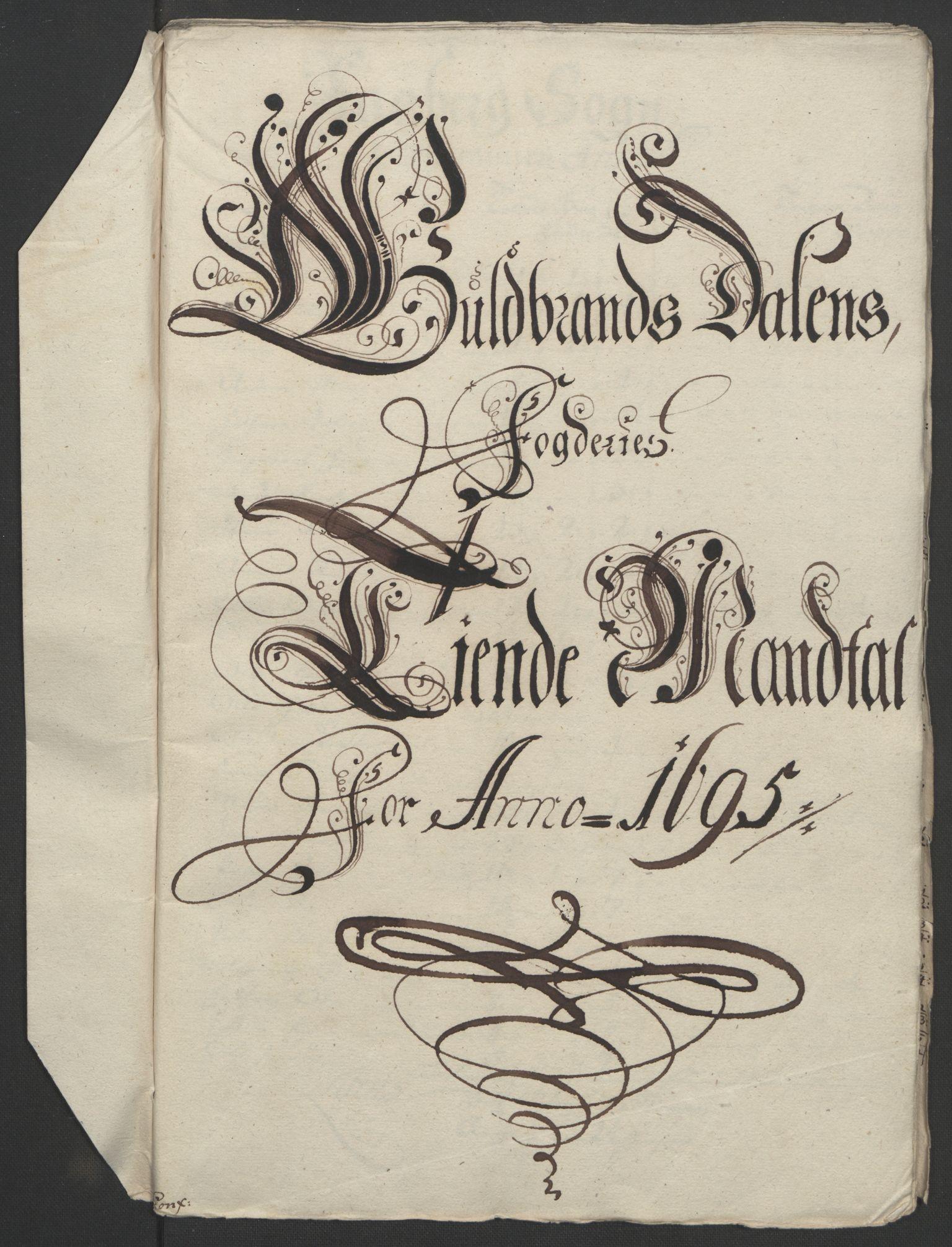 RA, Rentekammeret inntil 1814, Reviderte regnskaper, Fogderegnskap, R17/L1169: Fogderegnskap Gudbrandsdal, 1695, s. 62
