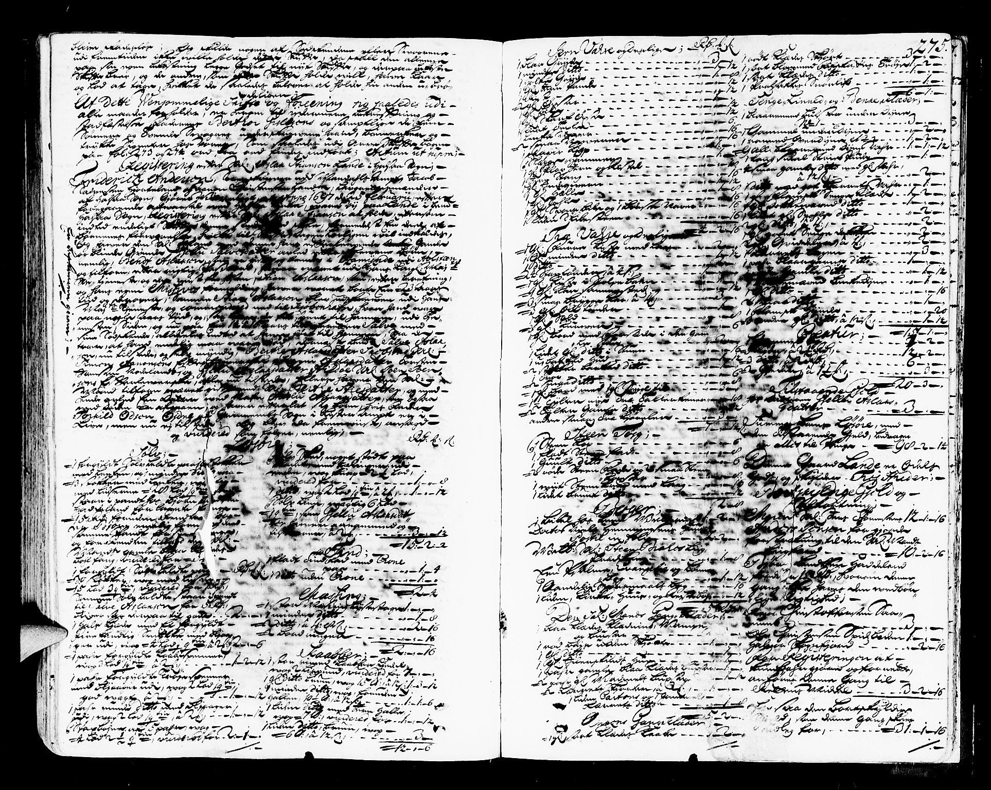 SAK, Mandal sorenskriveri, H/Hc/L0008: Skifteprotokoll med register, original i eske nr 4a, 1693-1702, s. 274b-275a