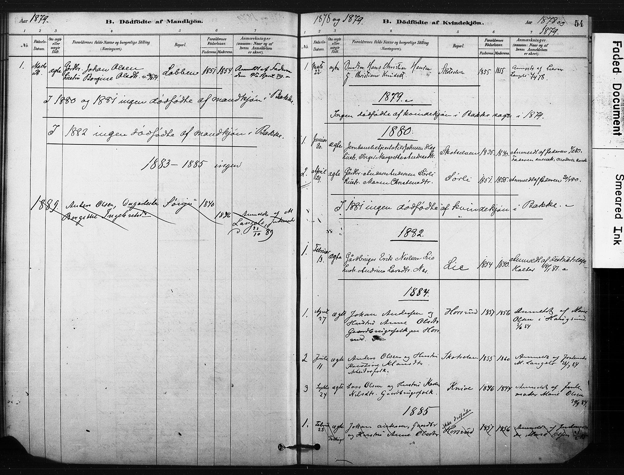 SAKO, Eiker kirkebøker, F/Fc/L0001: Ministerialbok nr. III 1, 1878-1889, s. 54