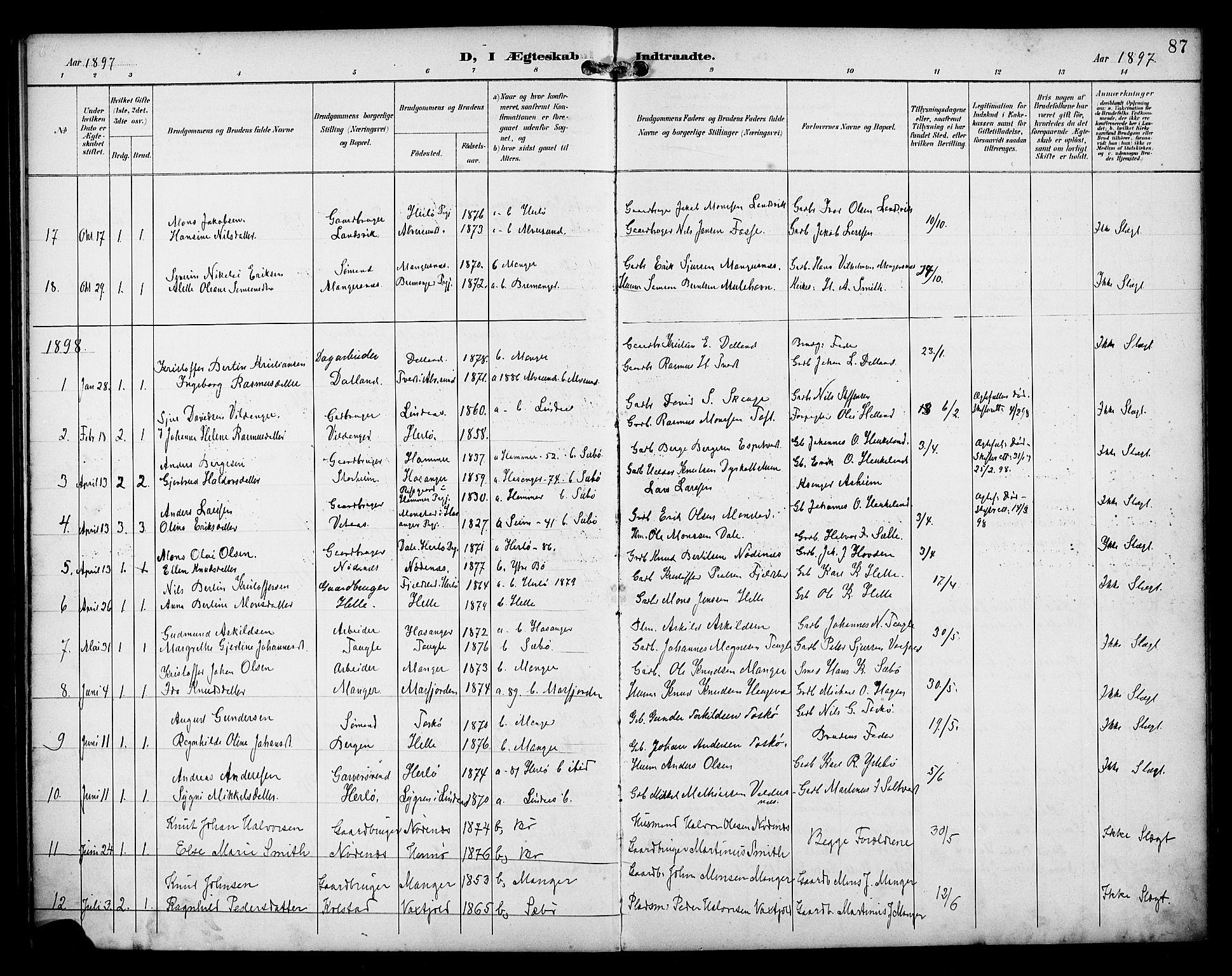 SAB, Manger sokneprestembete, H/Haa: Ministerialbok nr. B 2, 1893-1906, s. 87