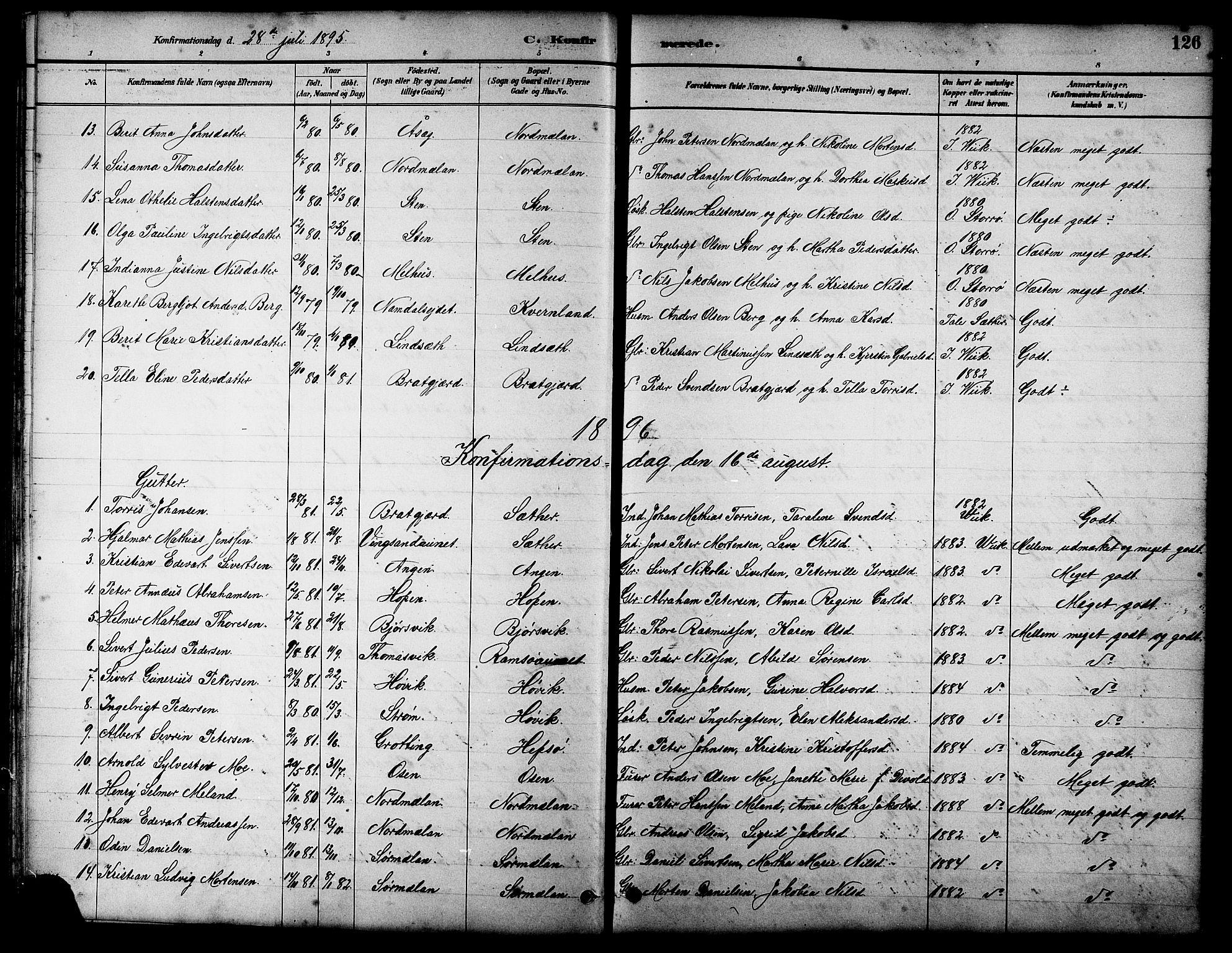 SAT, Ministerialprotokoller, klokkerbøker og fødselsregistre - Sør-Trøndelag, 658/L0726: Klokkerbok nr. 658C02, 1883-1908, s. 126