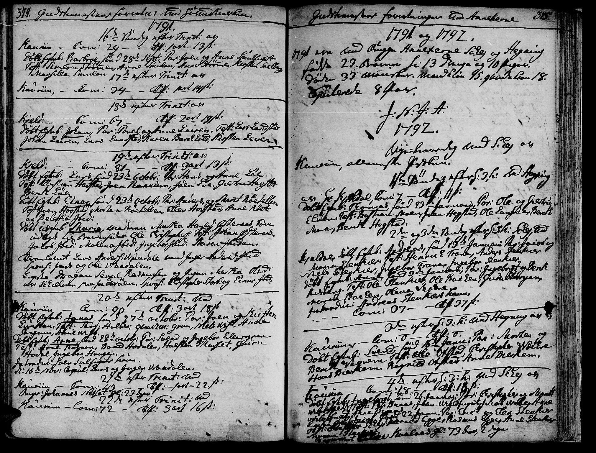 SAT, Ministerialprotokoller, klokkerbøker og fødselsregistre - Nord-Trøndelag, 735/L0331: Ministerialbok nr. 735A02, 1762-1794, s. 374-375