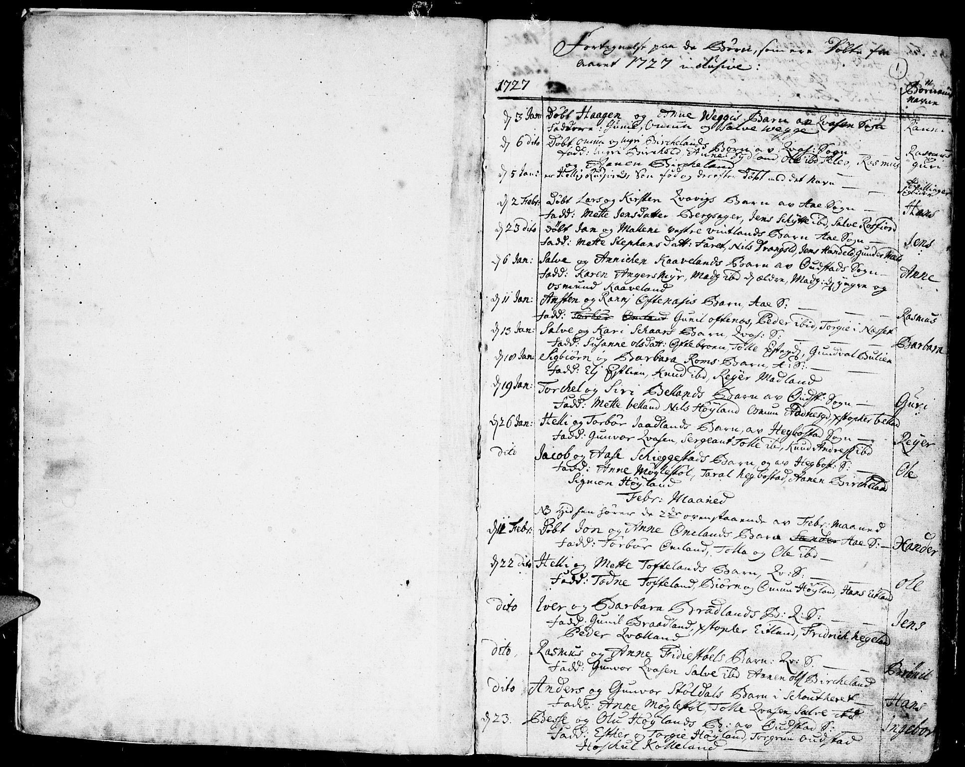 SAK, Lyngdal sokneprestkontor, F/Fa/Fac/L0001: Ministerialbok nr. A 1, 1727-1779, s. 1