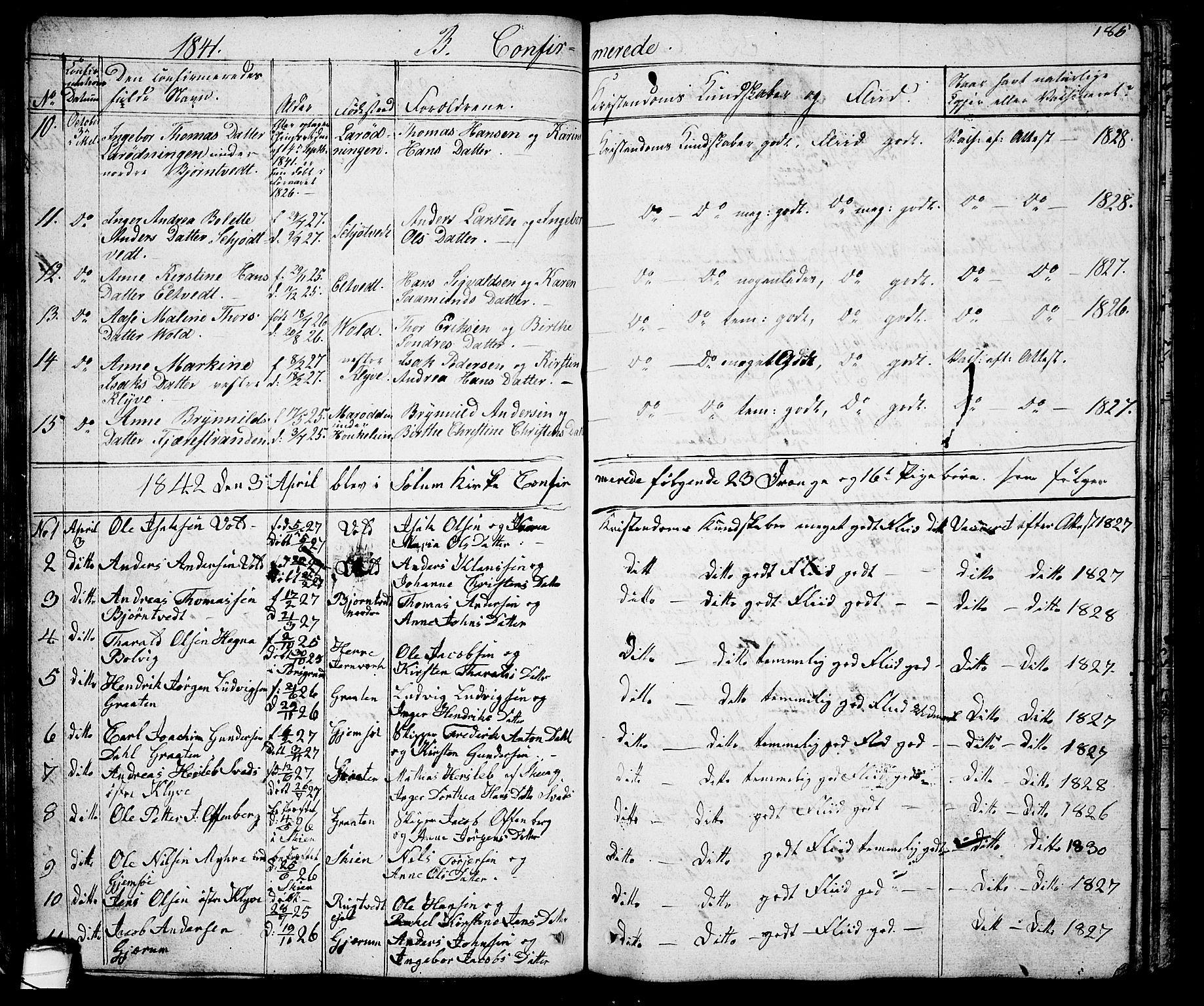 SAKO, Solum kirkebøker, G/Ga/L0002: Klokkerbok nr. I 2, 1834-1848, s. 185