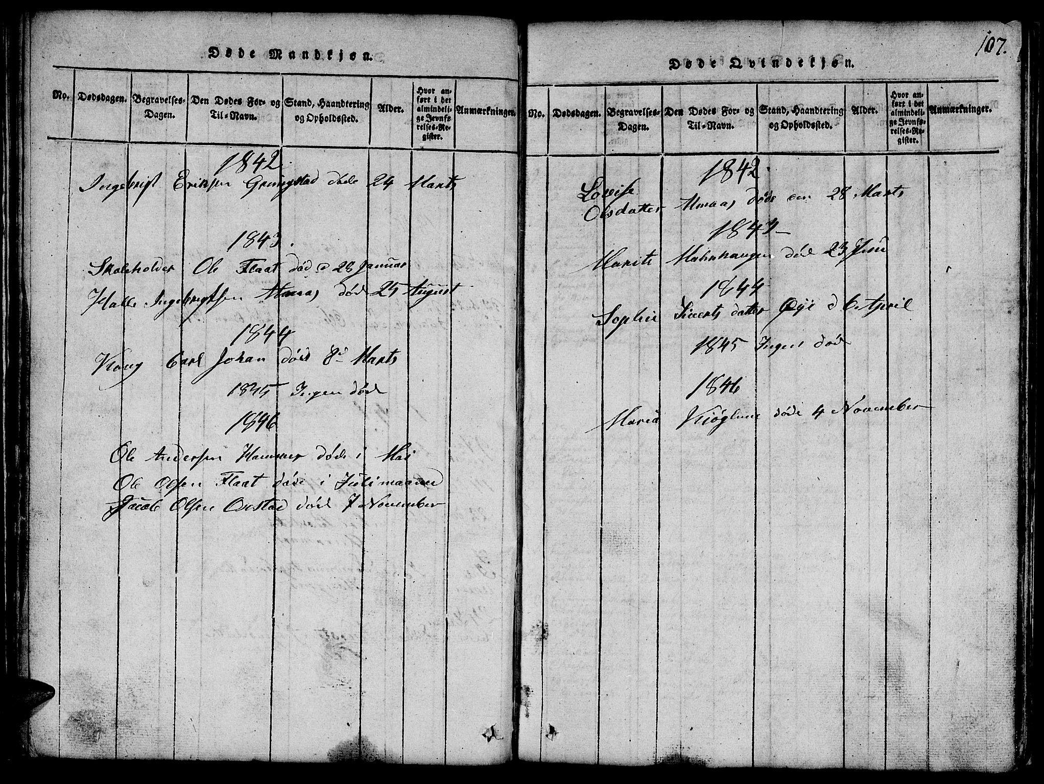 SAT, Ministerialprotokoller, klokkerbøker og fødselsregistre - Nord-Trøndelag, 765/L0562: Klokkerbok nr. 765C01, 1817-1851, s. 107