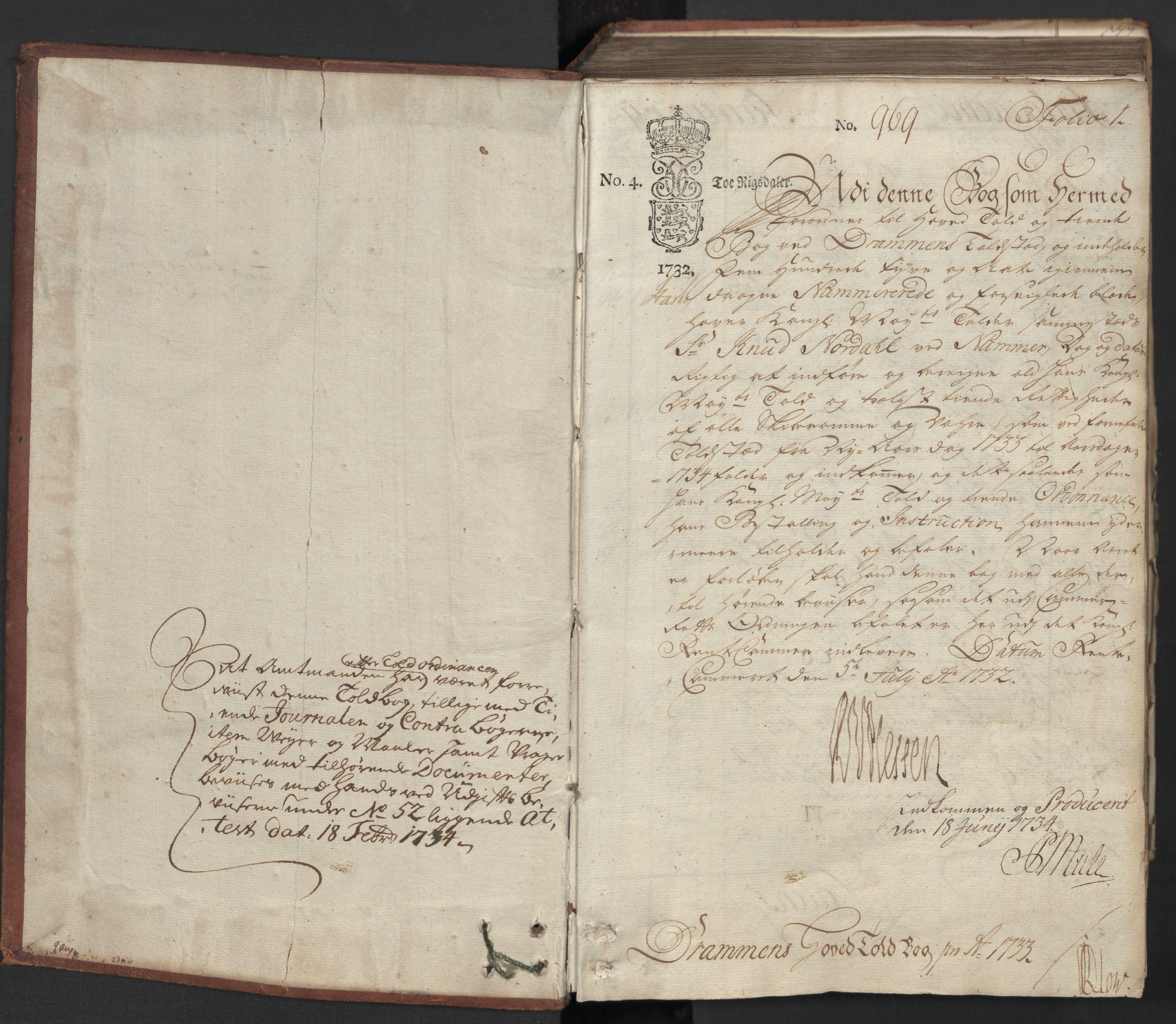 RA, Generaltollkammeret, tollregnskaper, R08/L0012: Tollregnskaper Drammen, 1733, s. 1a