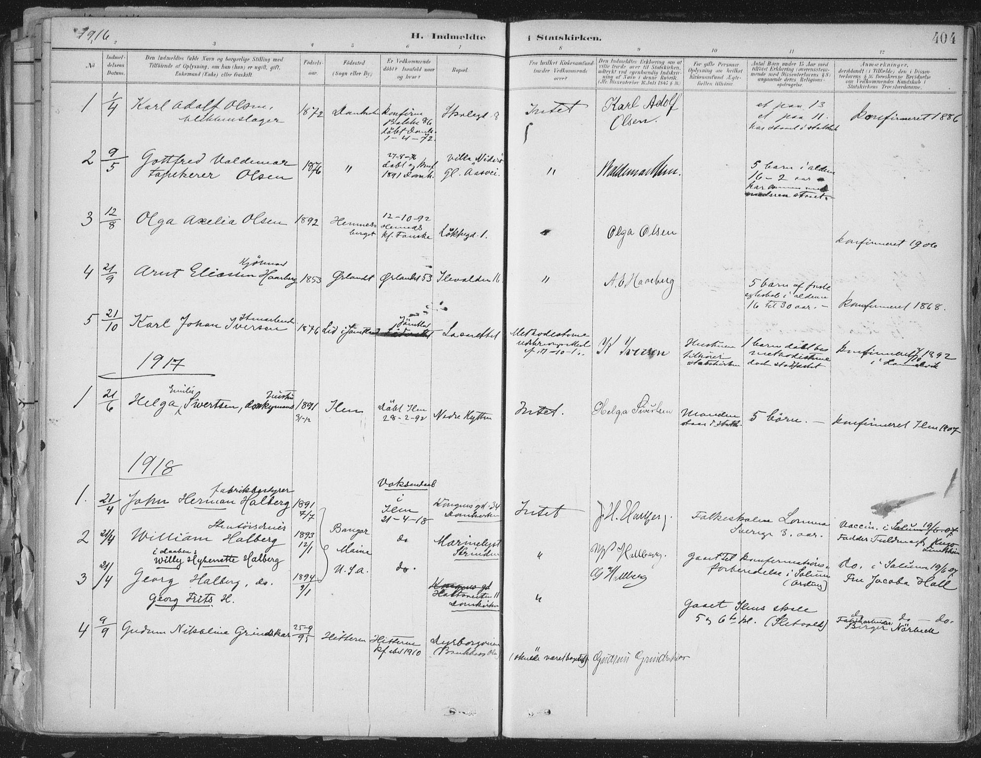SAT, Ministerialprotokoller, klokkerbøker og fødselsregistre - Sør-Trøndelag, 603/L0167: Ministerialbok nr. 603A06, 1896-1932, s. 404