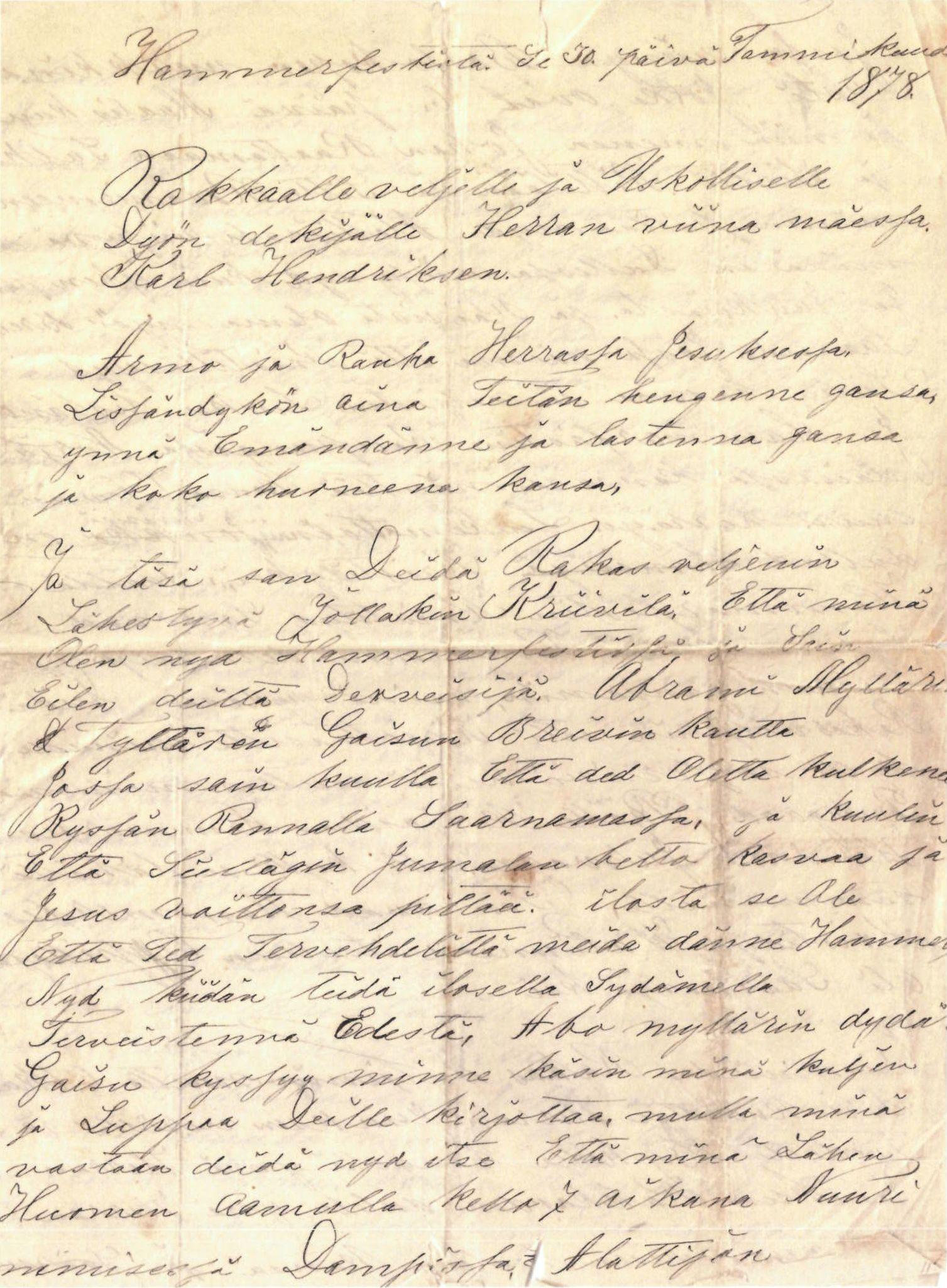 FMFB, Elise Balos brevsamling, F/Fa/L0002: Brev fra B.Balovara til K. Henriksen , 1878