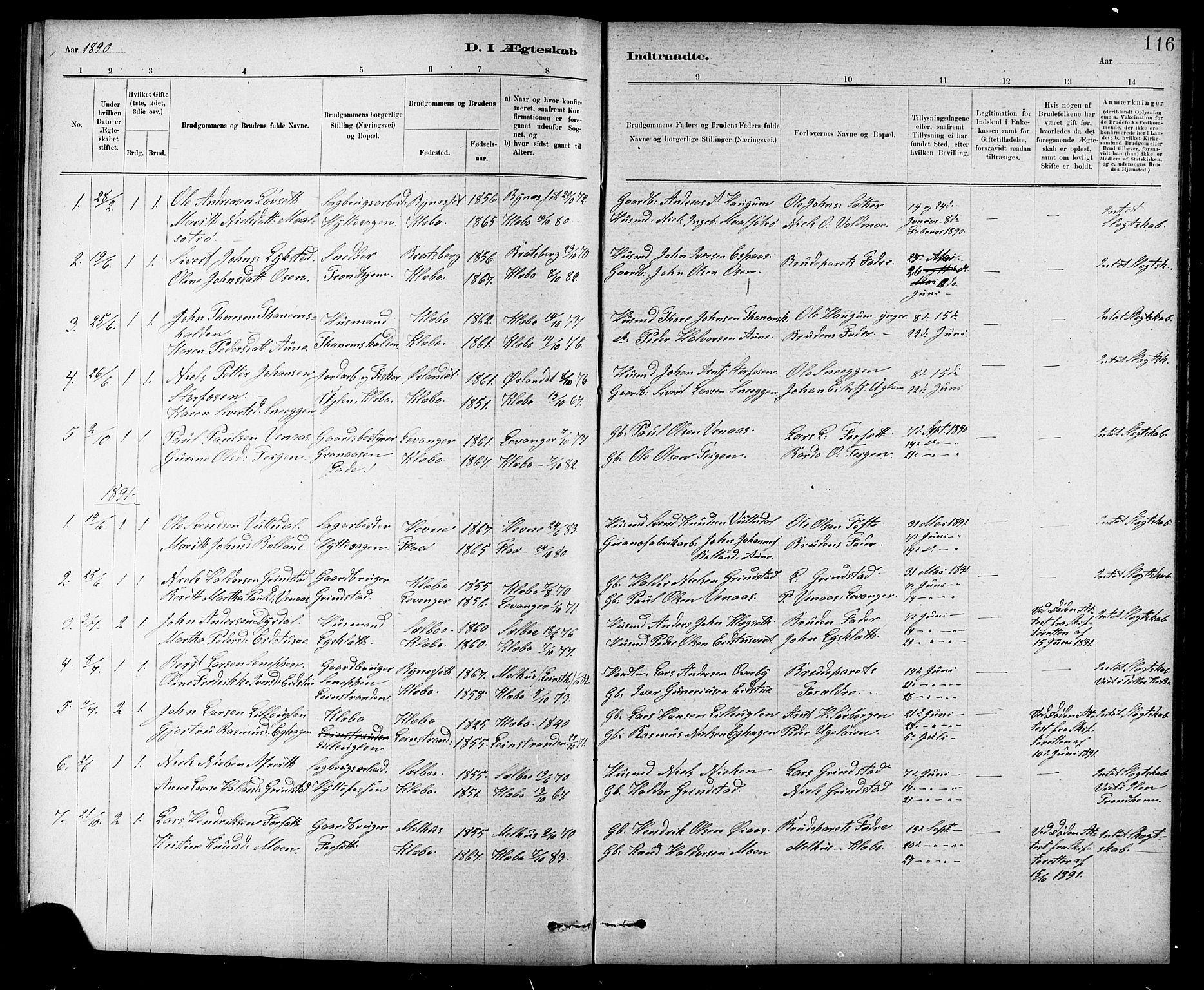 SAT, Ministerialprotokoller, klokkerbøker og fødselsregistre - Sør-Trøndelag, 618/L0452: Klokkerbok nr. 618C03, 1884-1906, s. 116