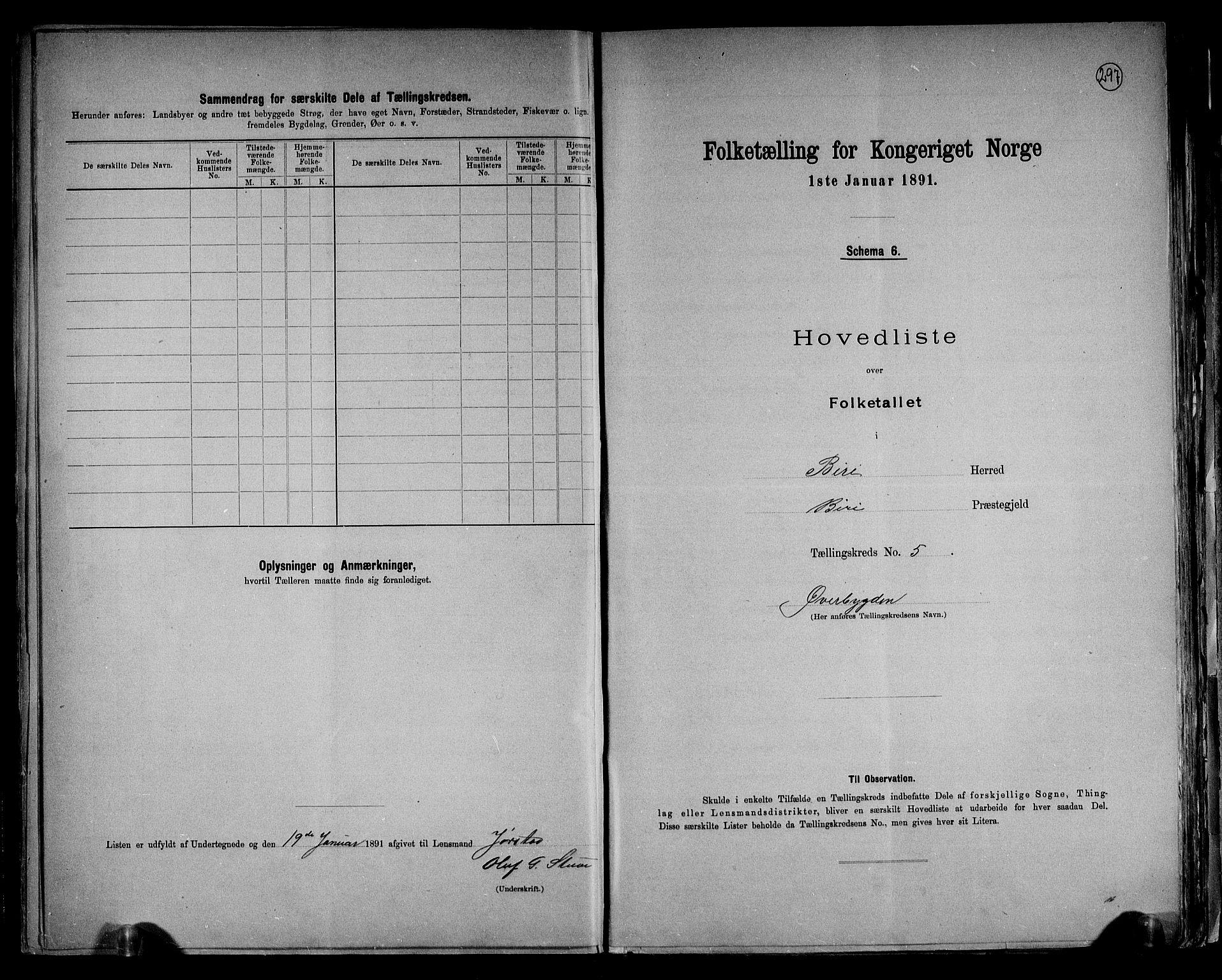 RA, Folketelling 1891 for 0525 Biri herred, 1891, s. 14