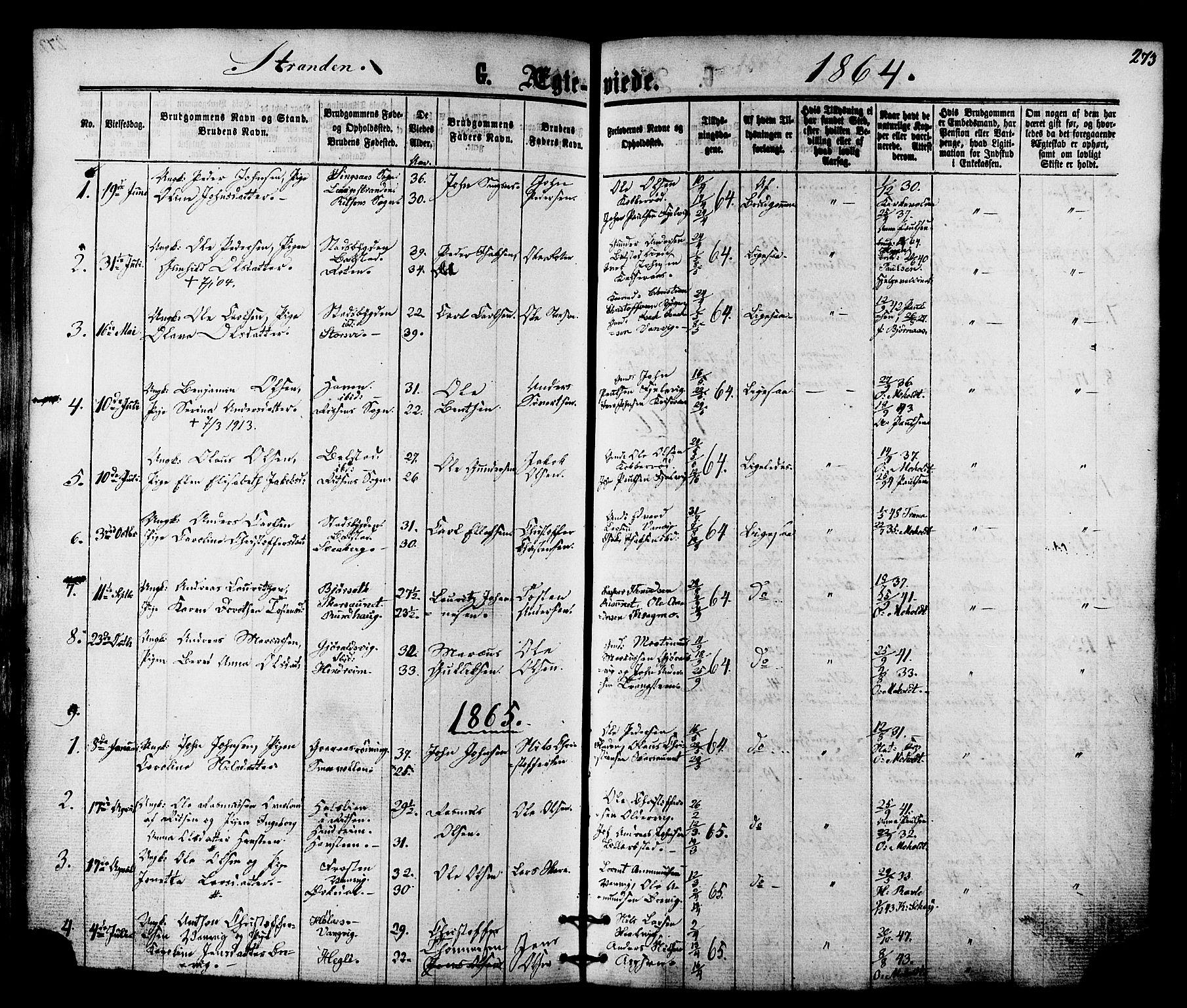 SAT, Ministerialprotokoller, klokkerbøker og fødselsregistre - Nord-Trøndelag, 701/L0009: Ministerialbok nr. 701A09 /2, 1864-1882, s. 273
