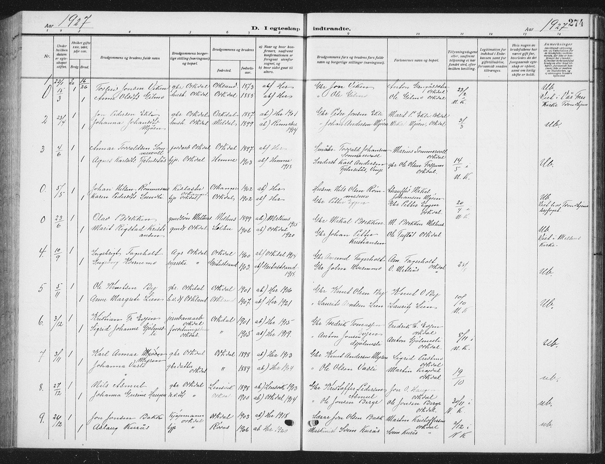 SAT, Ministerialprotokoller, klokkerbøker og fødselsregistre - Sør-Trøndelag, 668/L0820: Klokkerbok nr. 668C09, 1912-1936, s. 274