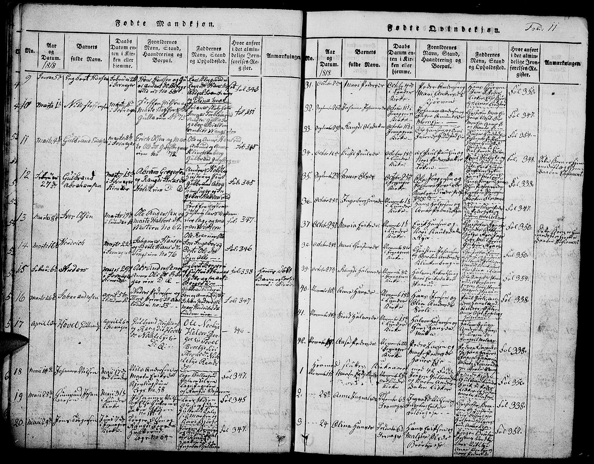 SAH, Jevnaker prestekontor, Klokkerbok nr. 1, 1815-1837, s. 11